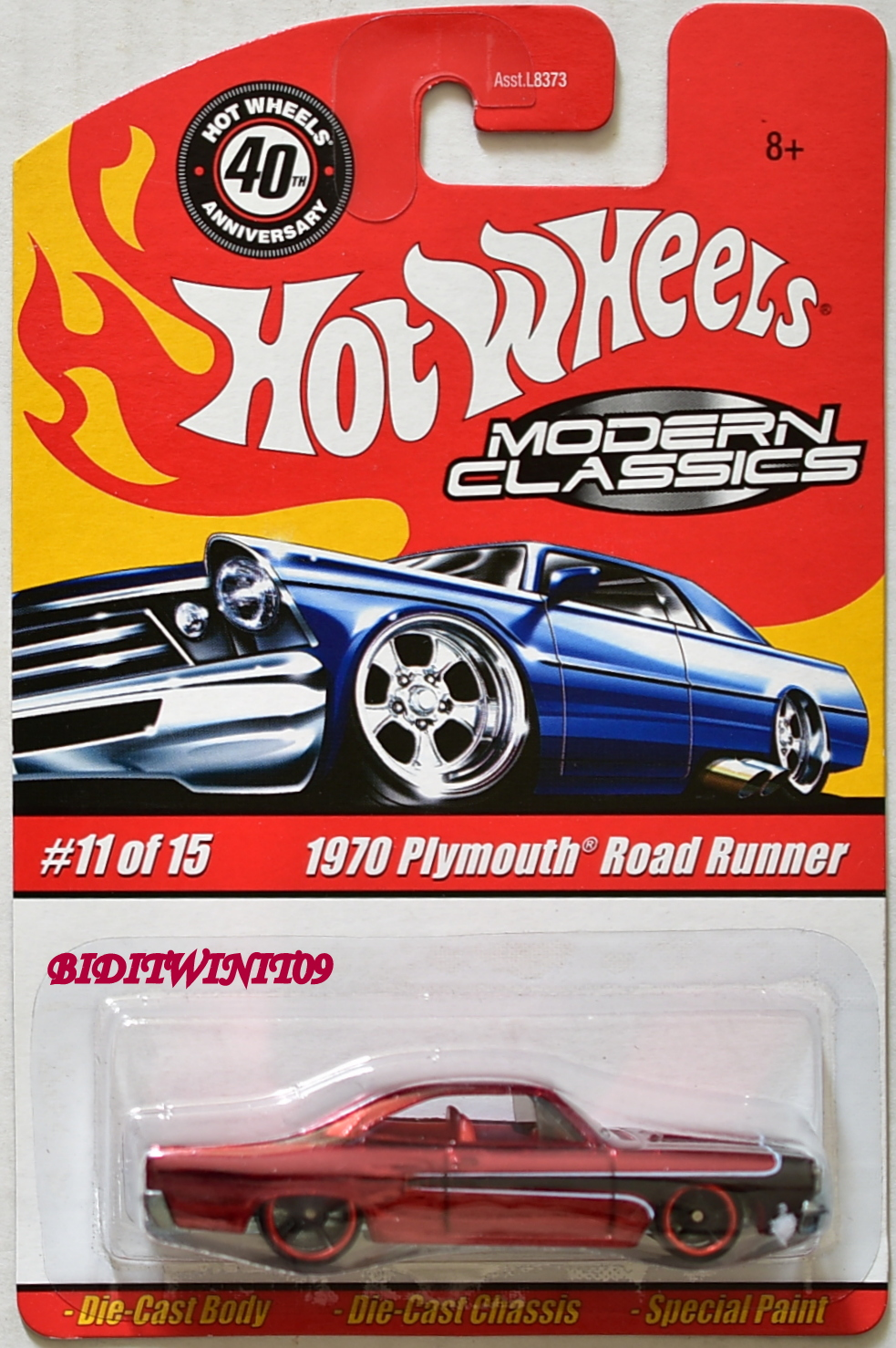 HOT WHEELS MODERN CLASSICS #11/15 1970 PLYMOUTH ROAD RUNNER RED E+