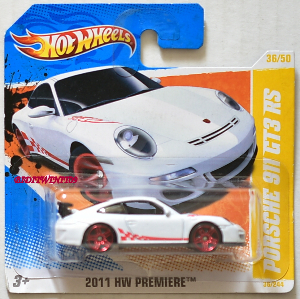 HOT WHEELS 2011 HW PREMIERE PORSCHE 911 GT3 RS #36/50 WHITE SHORT CARD E+