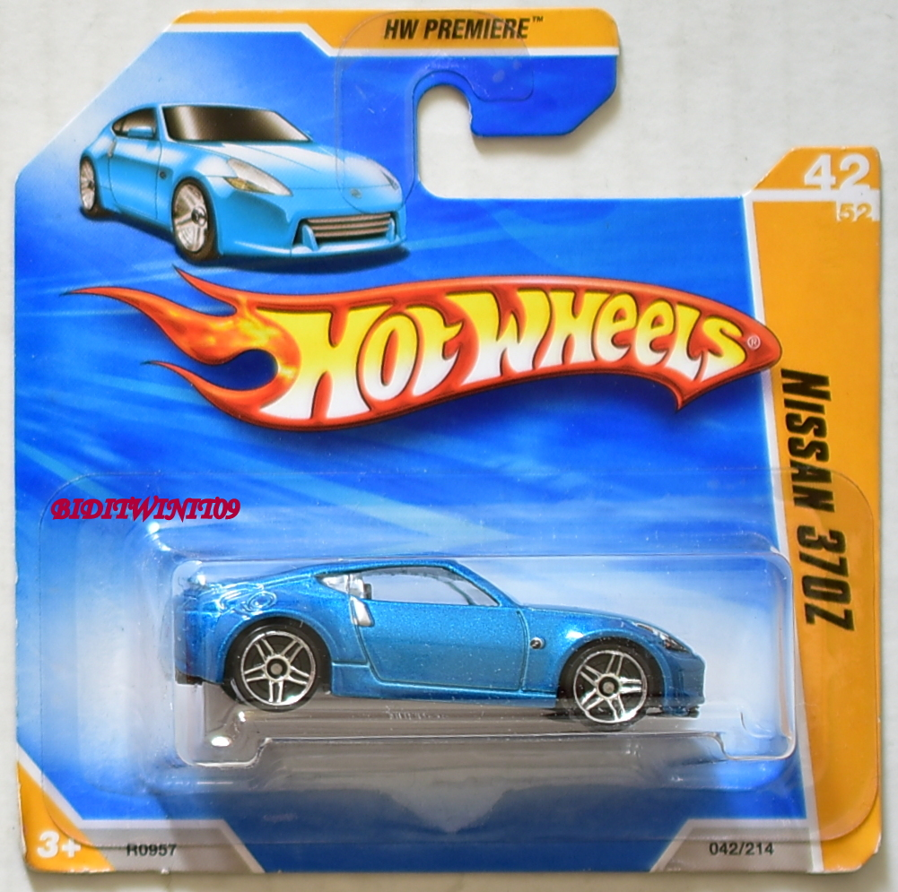 HOT WHEELS 2010 HW PREMIERE NISSAN 370Z BLUE SHORT CARD E+