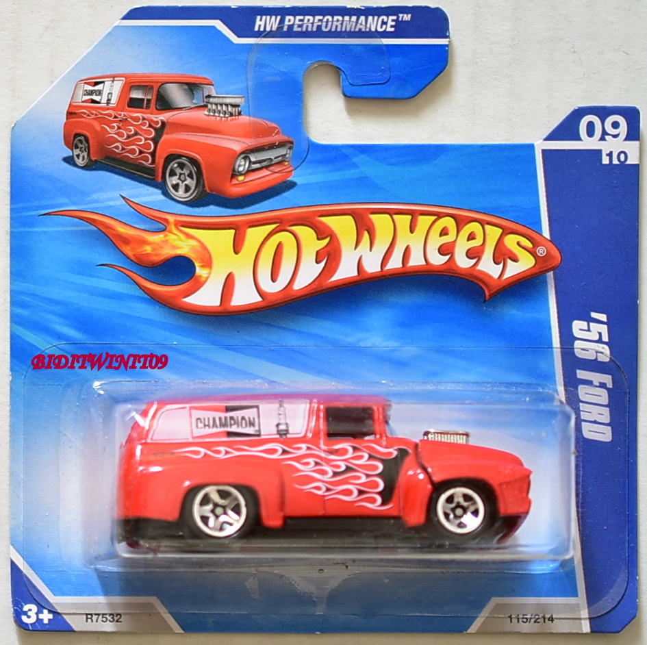 HOT WHEELS 2010 HW PERFORMANCE '56 FORD RED SHORT CARD E+