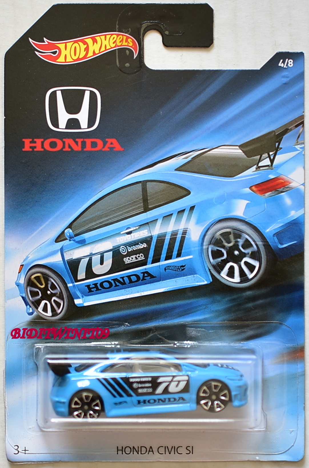 HOT WHEELS 2018 70th ANNIVERSARY HONDA CIVIC SI BLUE