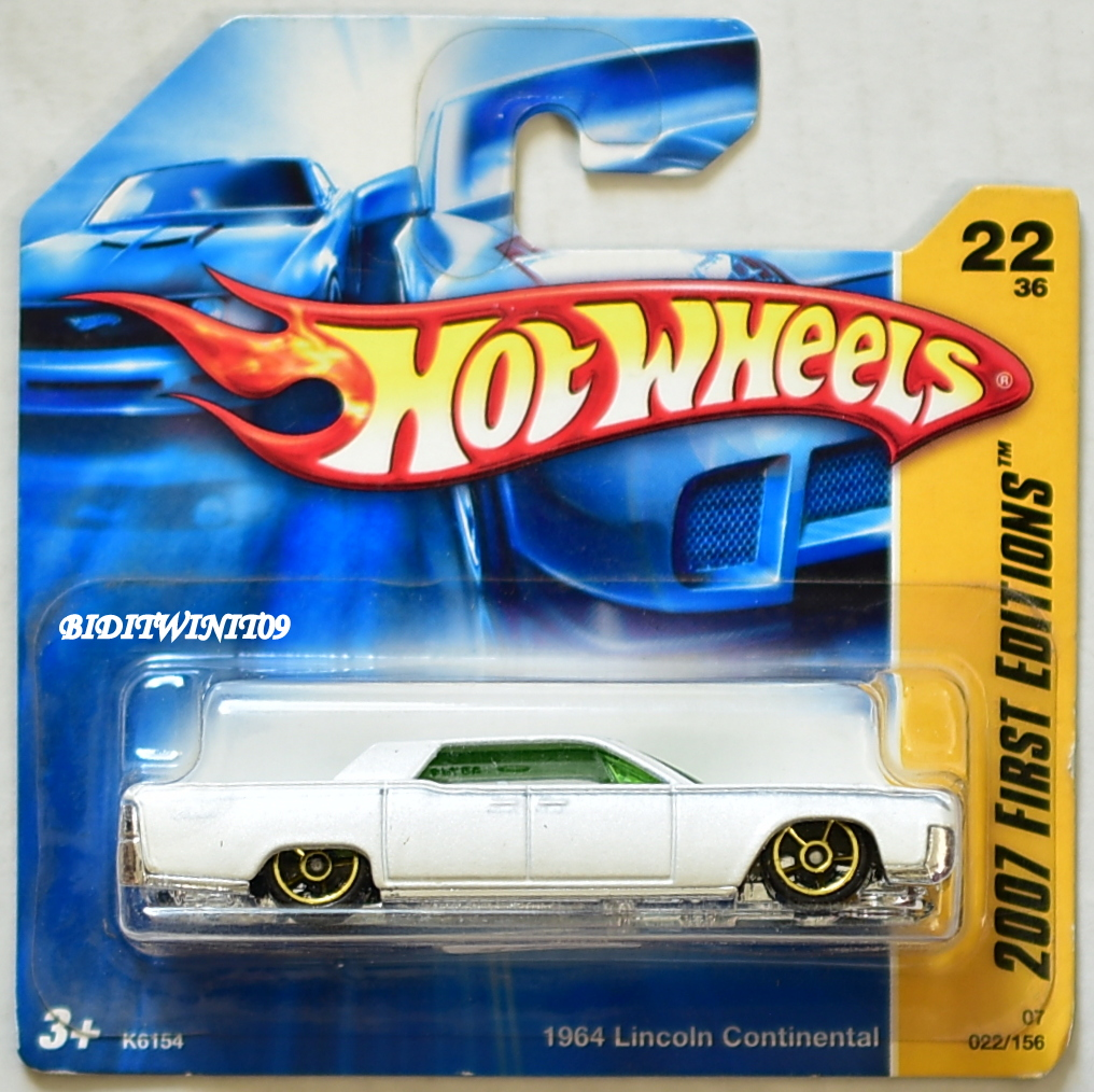 HOT WHEELS 2007 FIRST EDITIONS 1964 LINCOLN CONTINENTAL WHITE SHORT CARD E+