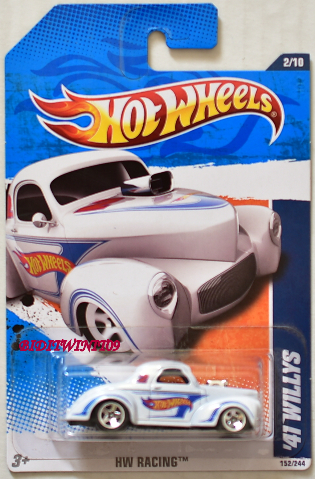 HOT WHEELS 2011 '41 WILLYS HW RACING #02/10 WHITE