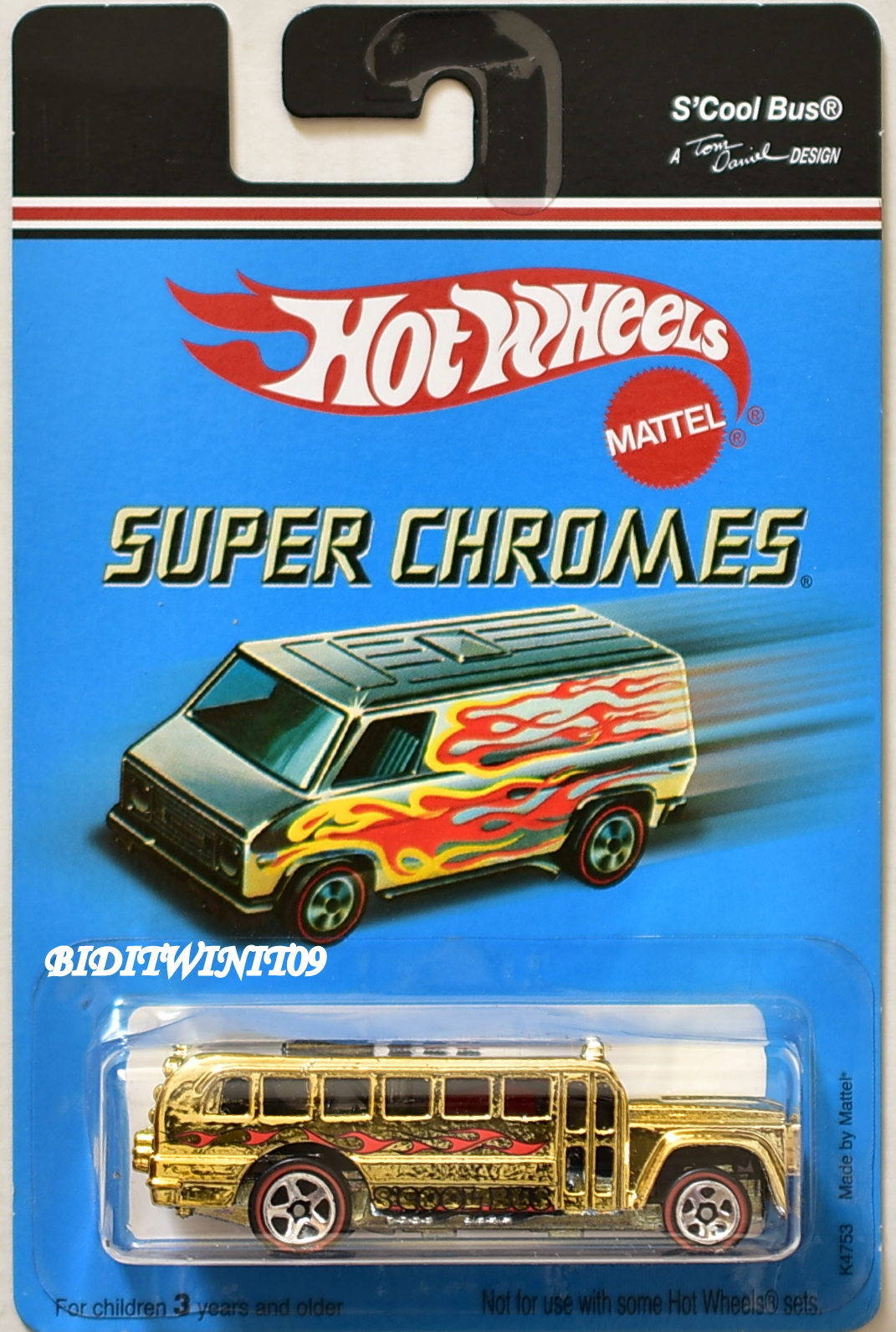 HOT WHEELS 1972 -2006 SUPER CHROMES S'COOL BUS GOLD
