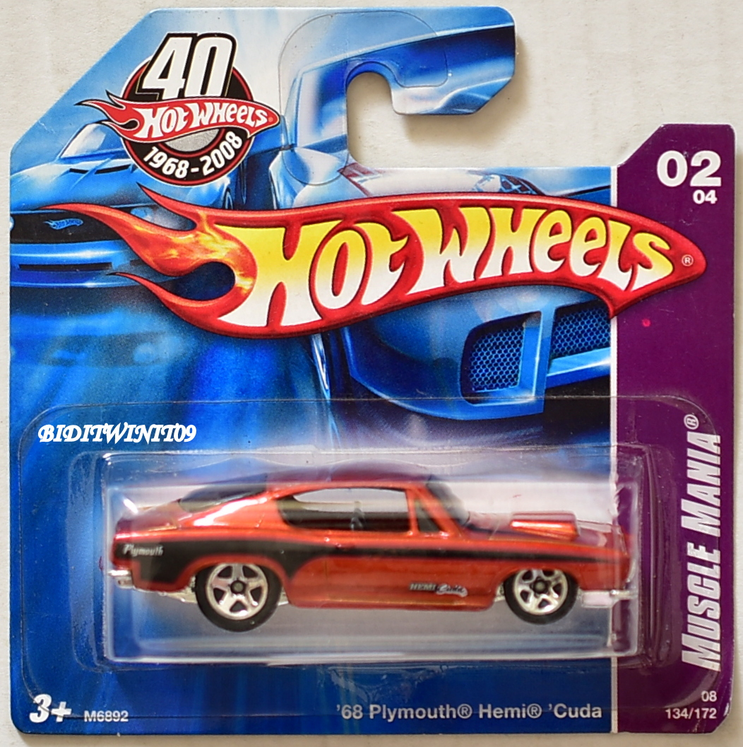 HOT WHEELS 2008 MUSCLE MANIA '68 PLYMOUTH HEMI CUDA #02/04 RED SHORT CARD E+