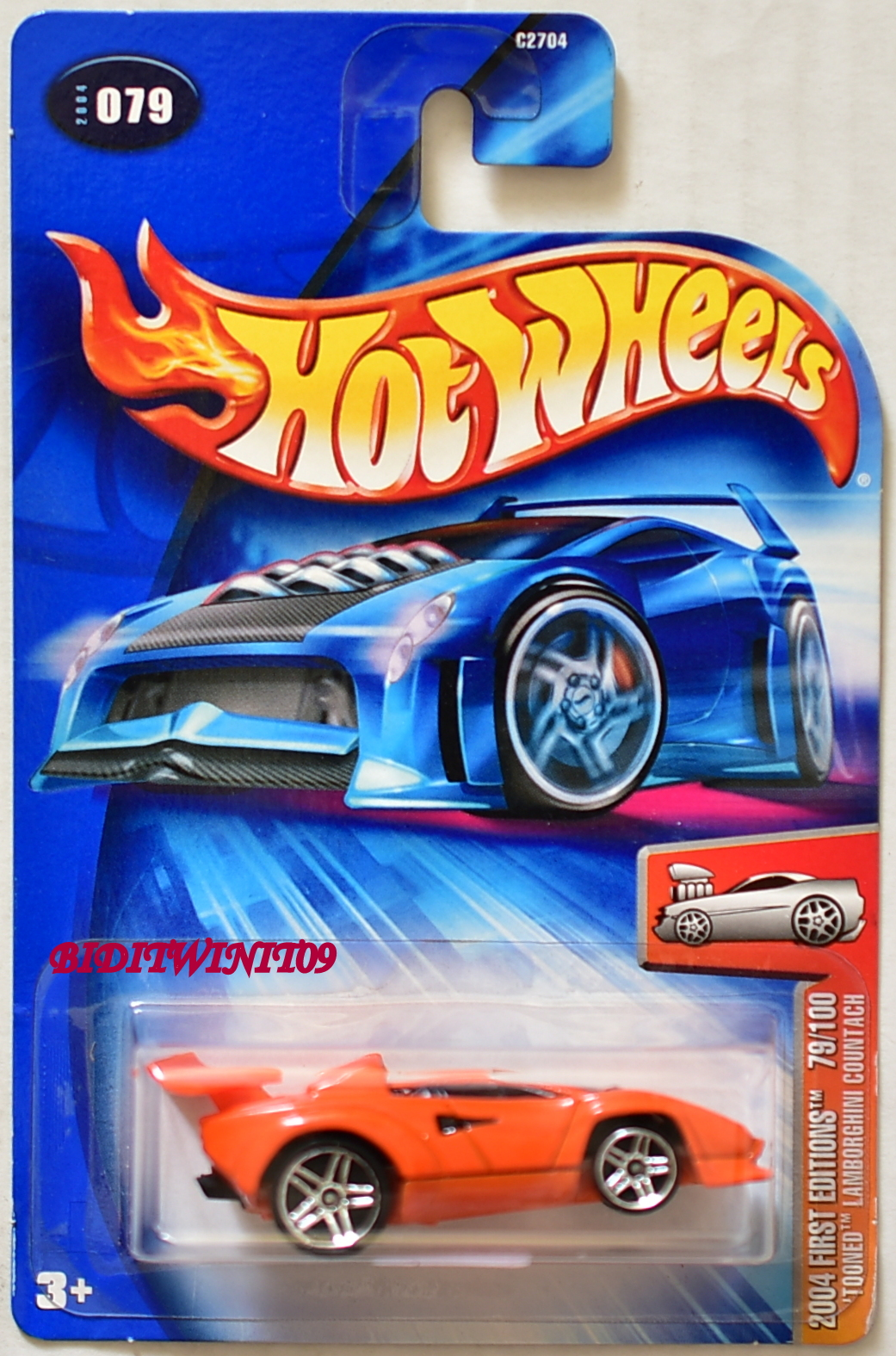 Hot Wheels 2004 First Editions Lamborghini Countach Tooned Orange