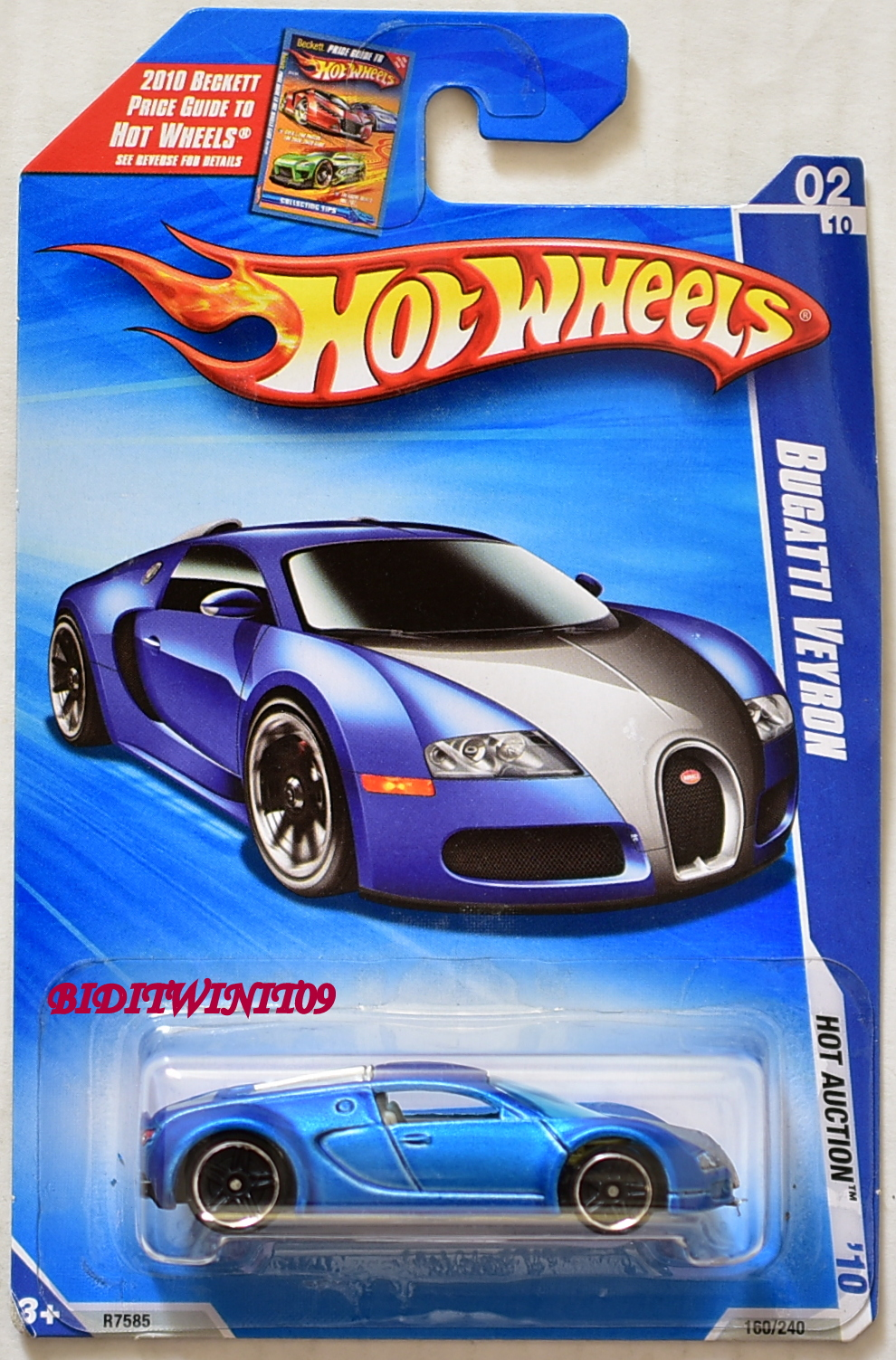 HOT WHEELS 2010 HOT AUCTION BUGATTI VEYRON #02/10 BAD CARD E+