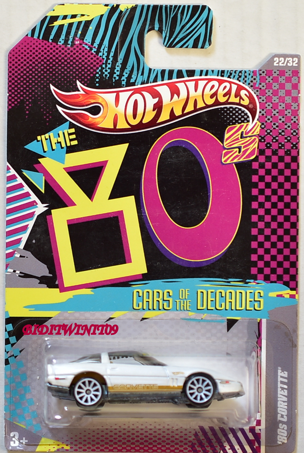 HOT WHEELS 2011 THE 80'S CARS OF THE DECADES '80S CORVETTE WHITE