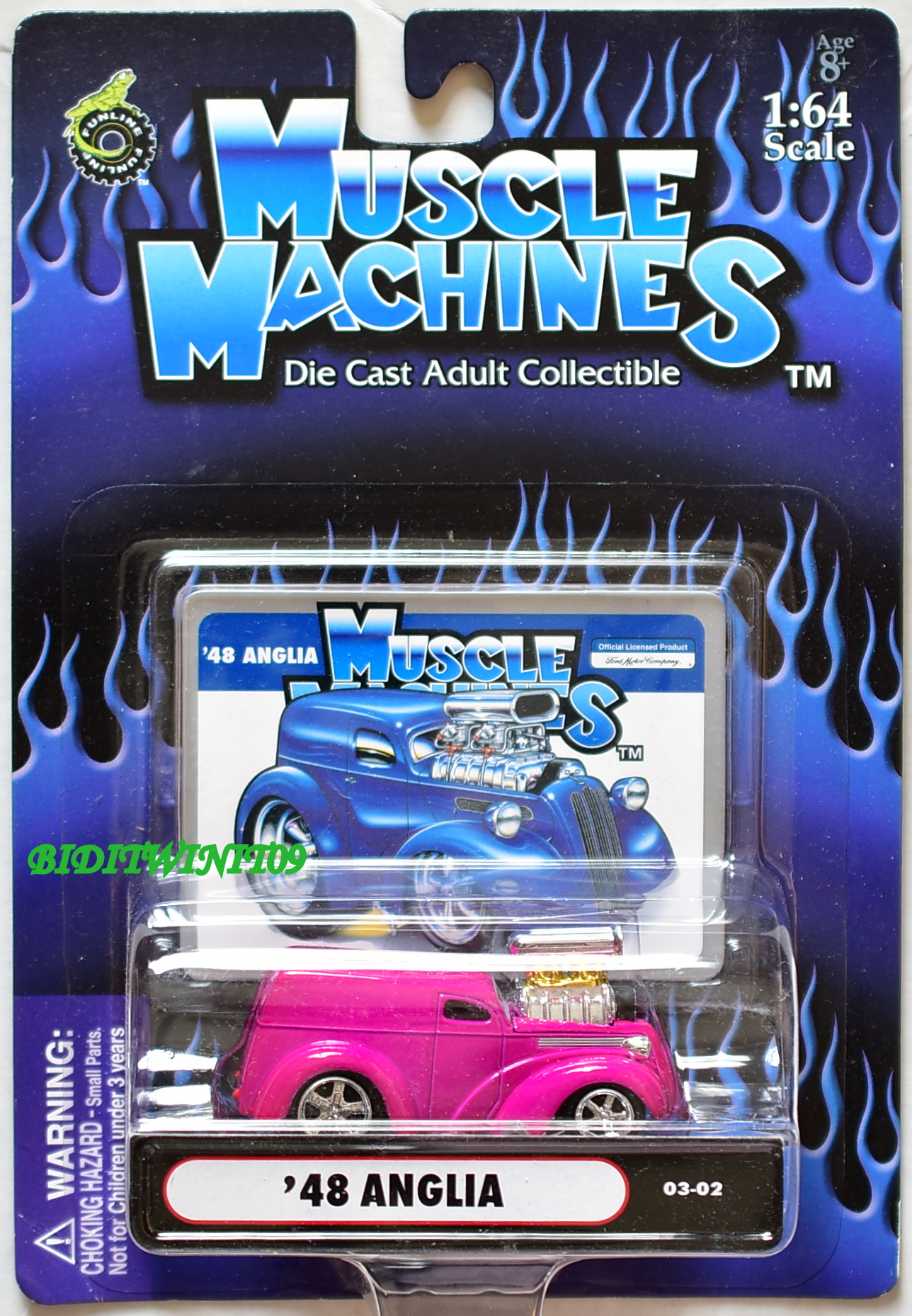 MUSCLE MACHINES '48 ANGLIA 03-02 PINK 1:64 SCALE E+