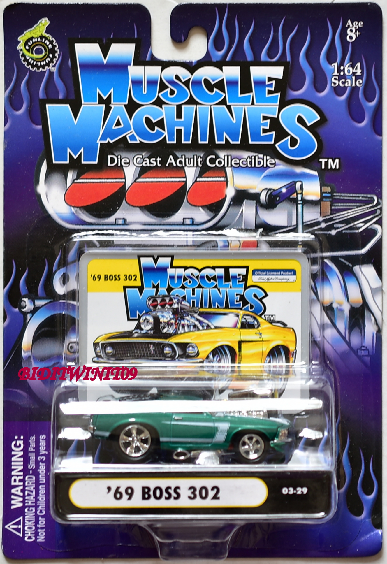 MUSCLE MACHINES '69 BOSS 302 03-29 GREEN 1:64 SCALE E+