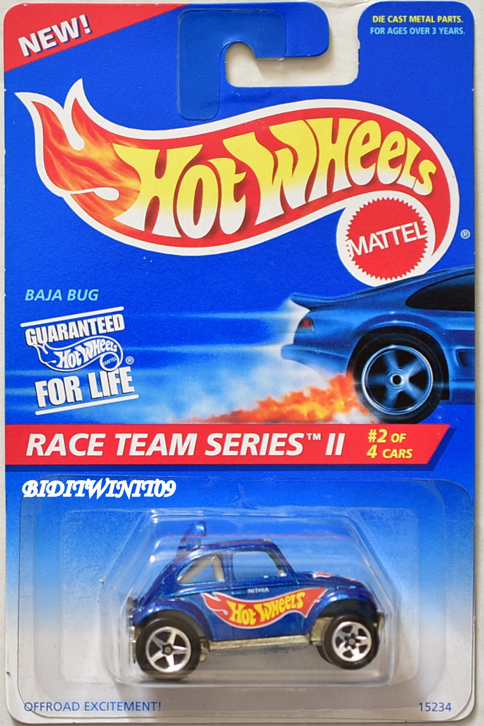 HOT WHEELS 1995 RACE TEAM SERIES II BAJA BUG #393 BLUE