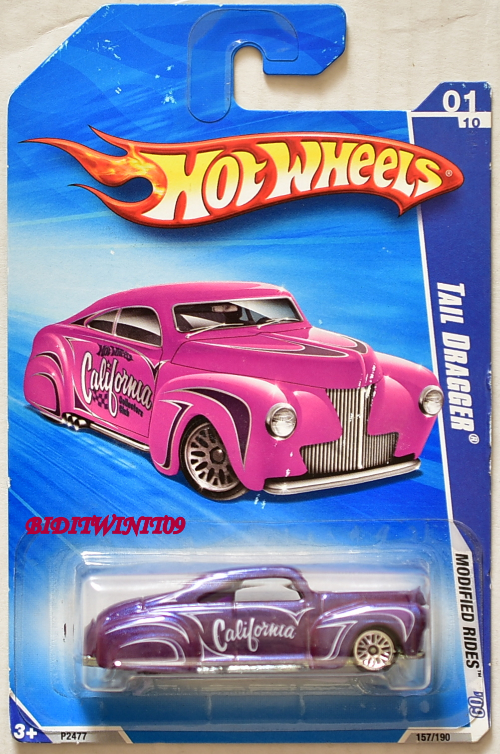 HOT WHEELS 2009 MODIFIED RIDES TAIL DRAGGER CALIFORNIA PURPLE E+
