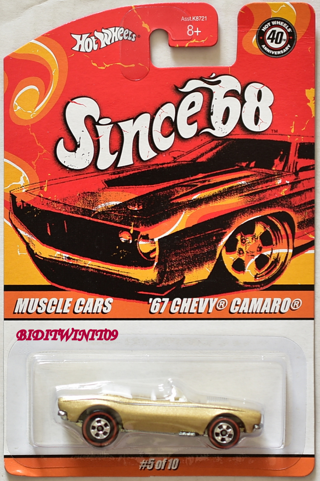 HOT WHEELS SINCE 68 MUSCLE CARS '67 CHEVY CAMARO GOLD