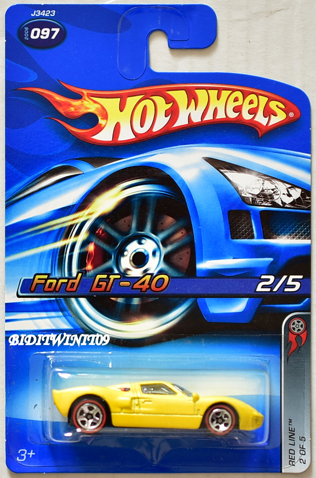HOT WHEELS 2006 RED LINE FORD GT-40 #097 YELLOW