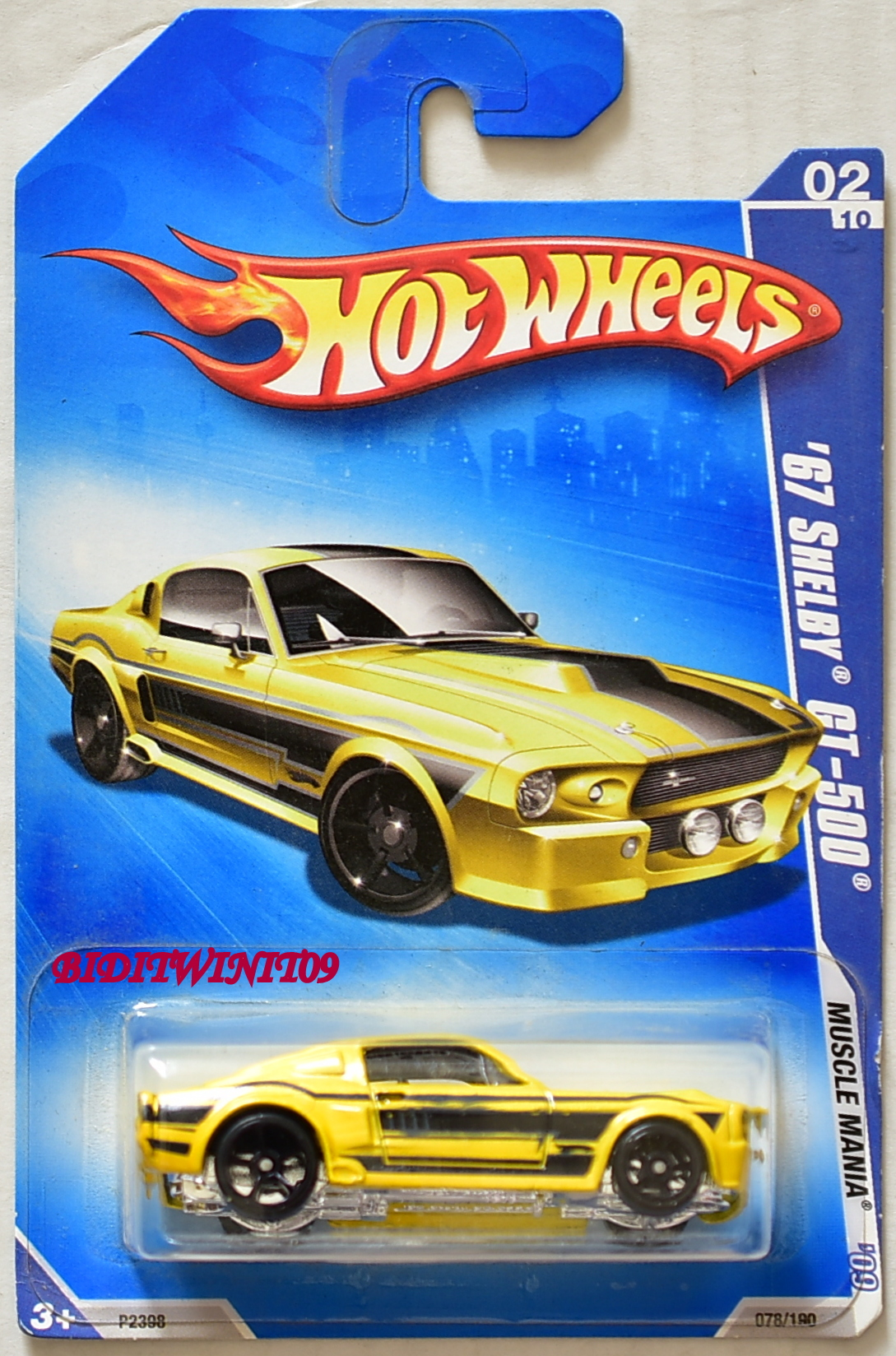 HOT WHEELS 2009 MUSCLE MANIA '67 SHELBY GT-500 YELLOW W/ DEFECT E+