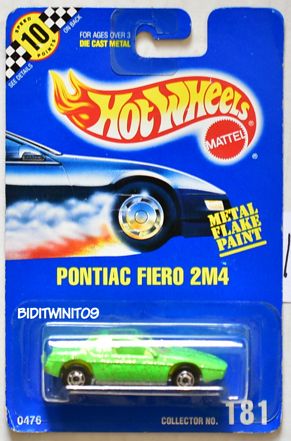 HOT WHEELS 1990 BLUE CARD PONTIAC FIERO 2M4 #181 GREEN 16
