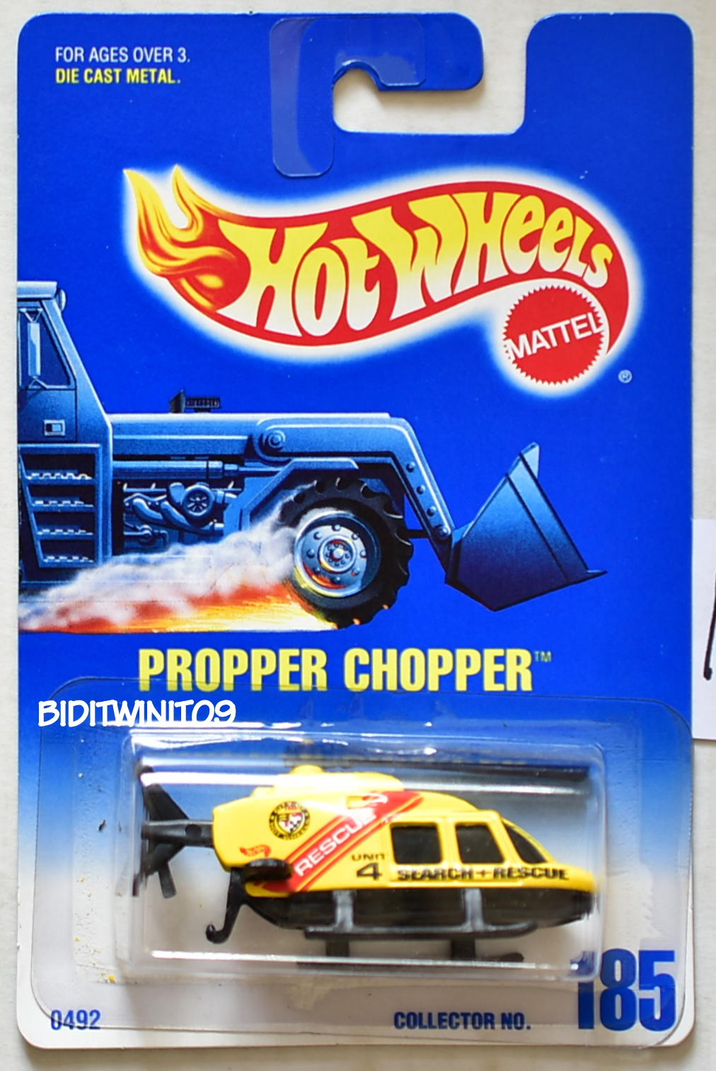 HOT WHEELS 1991 BLUE CARD PROPER CHOPPER #185 BLACK BASE 16 E+