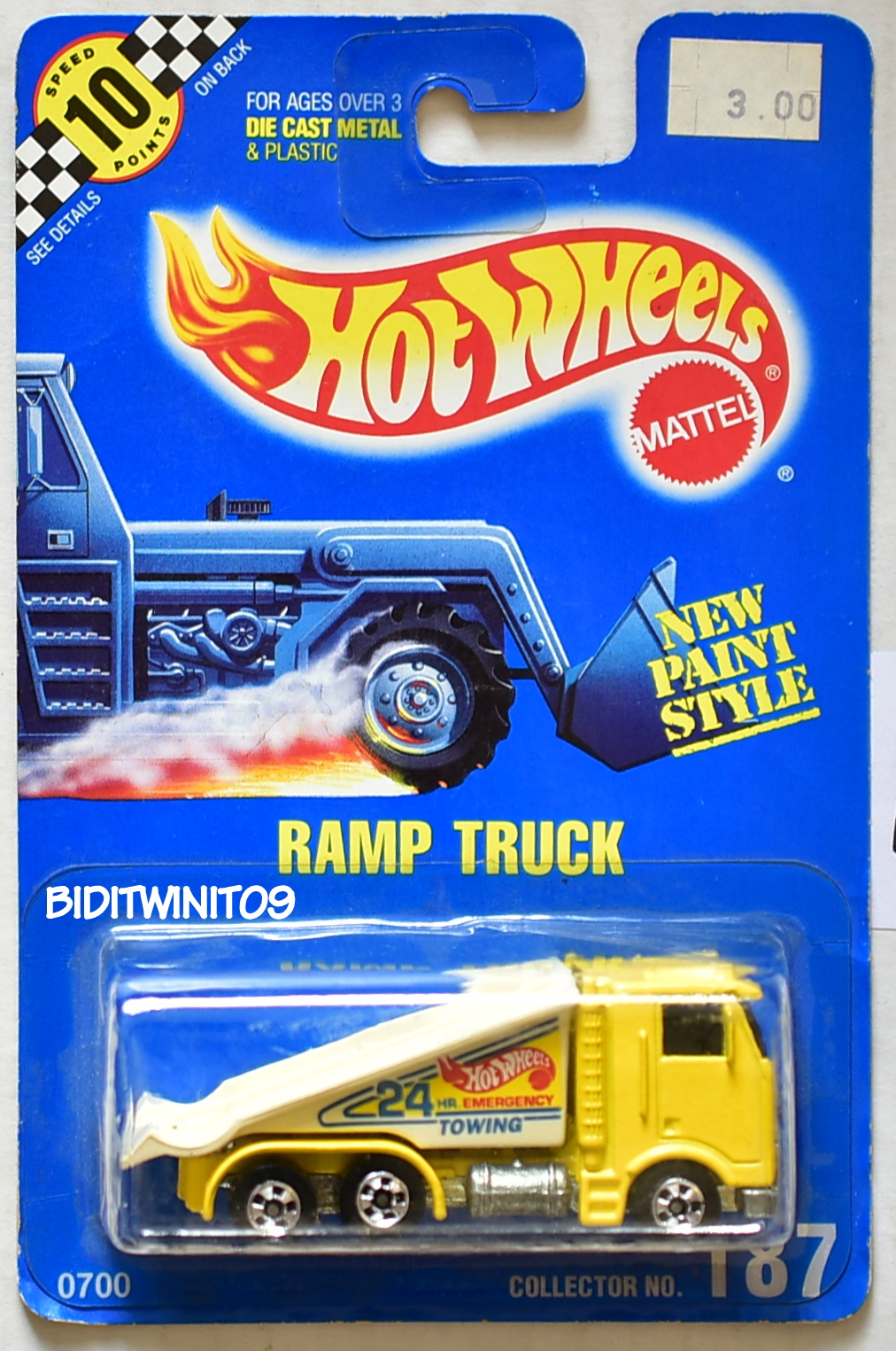 HOT WHEELS 1990 BLUE CARD RAMP TRUCK #187 YELLOW 16