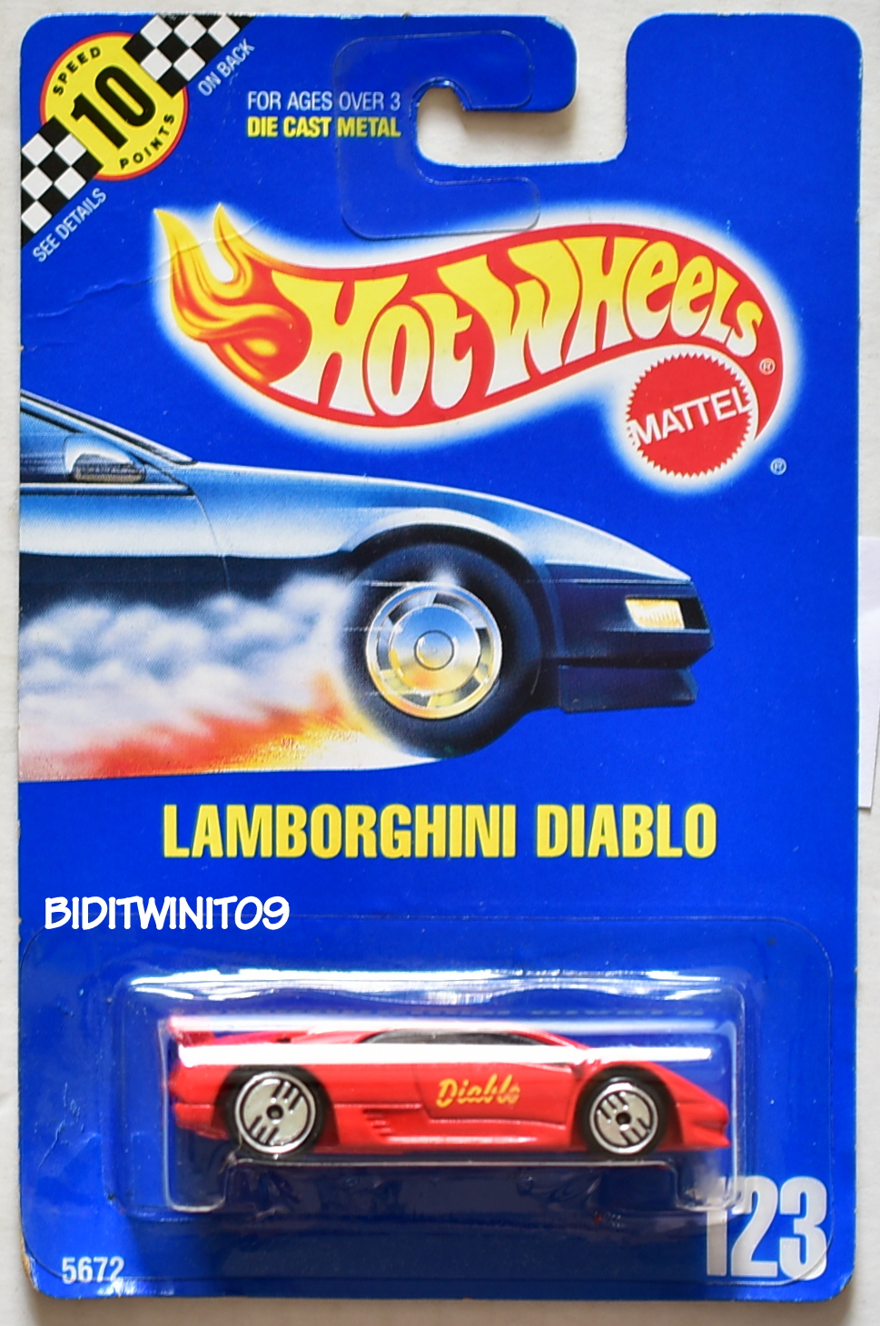 HOT WHEELS 1990 BLUE CARD #123 LAMBORGHINI DIABLO RED 16 E+