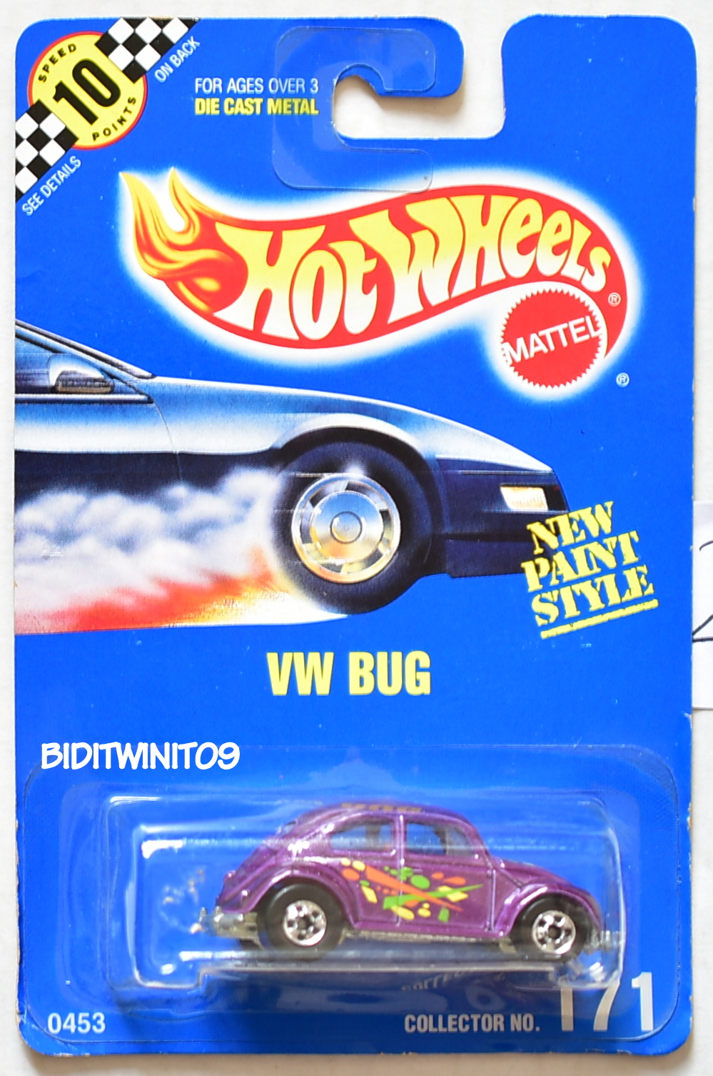 HOT WHEELS 1990 BLUE CARD VW BUG COLLECTOR #171 PURPLE 20