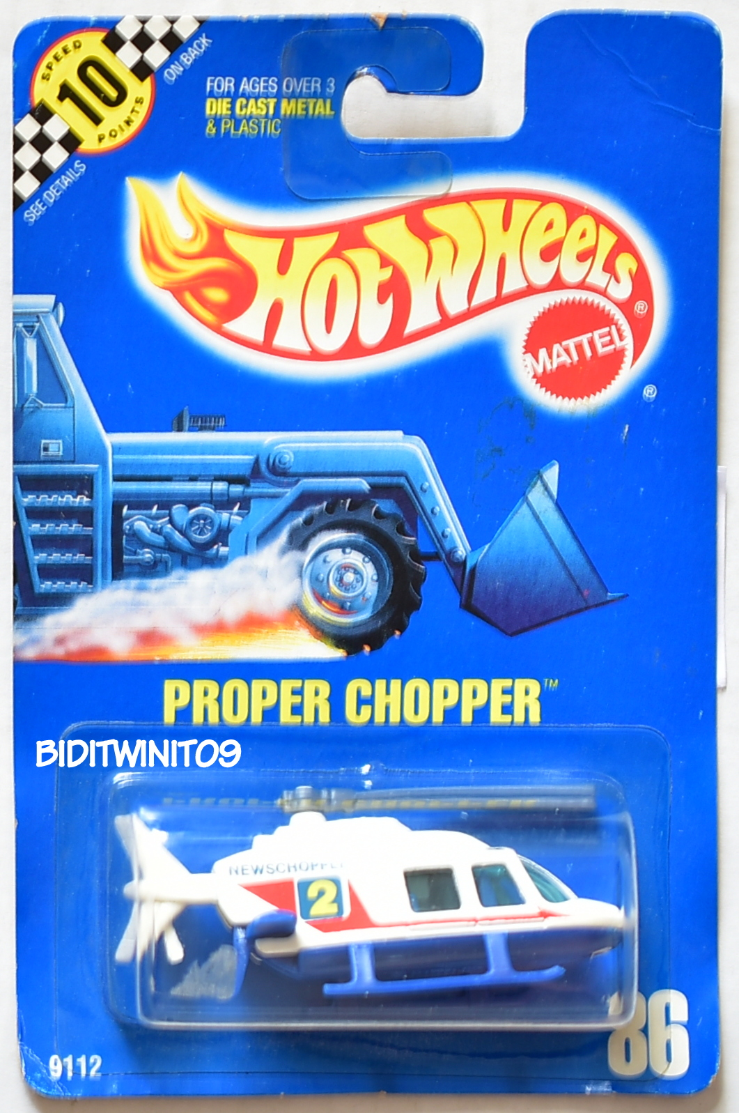HOT WHEELS 1990 BLUE CARD PROPER CHOPPER #86 WHITE