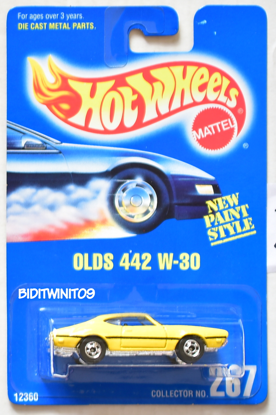HOT WHEELS 1991 BLUE CARD OLDS 442 W-30 #267 YELLOW BASIC TIRES 21 E+
