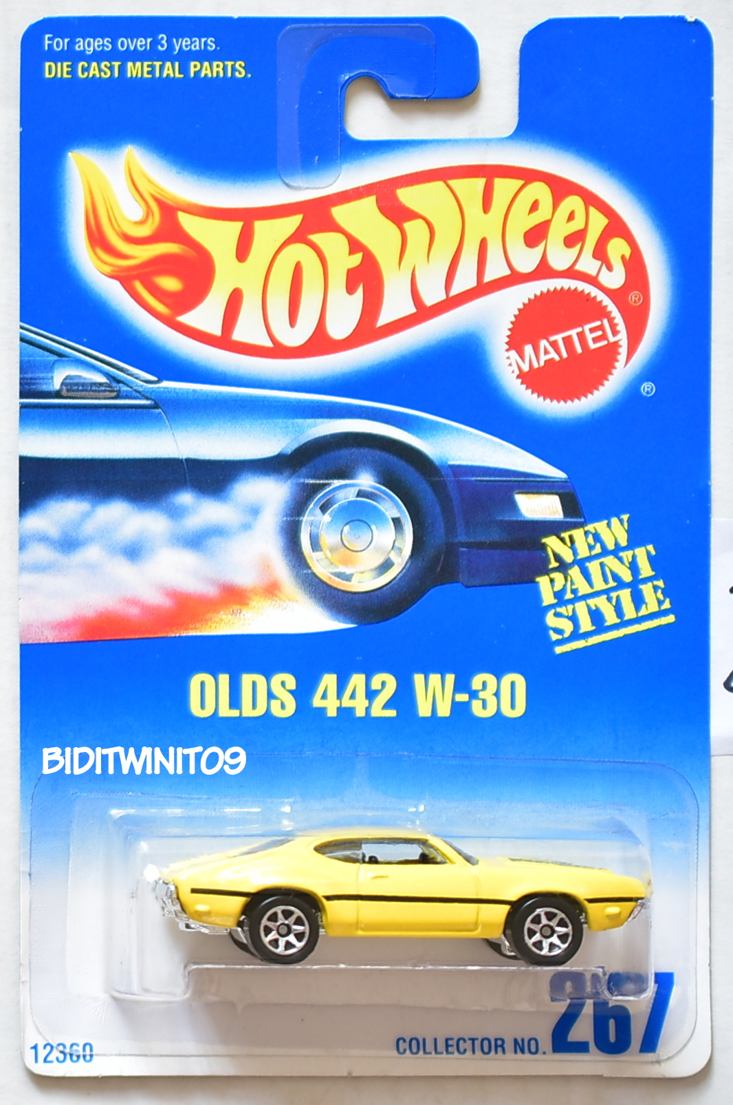 HOT WHEELS 1991 BLUE CARD OLDS 442 W-30 YELLOW W/ 7 SP WHEELS 21