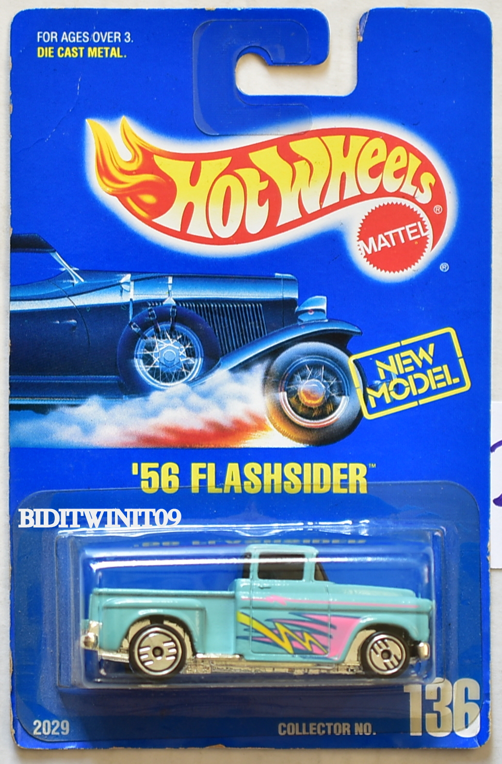 HOT WHEELS 1990 BLUE CARD '56 FLASHSIDER #136 W/ UH WHEELS 07
