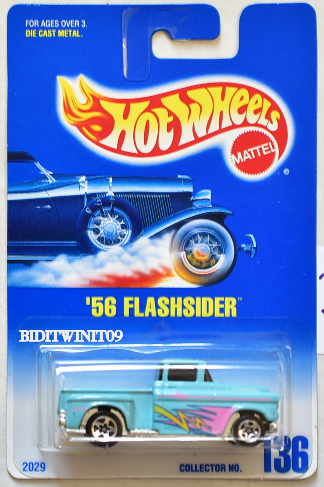 HOT WHEELS 1990 BLUE CARD '56 FLASHSIDER #136 W/ 5 SP WHEELS 07 E+