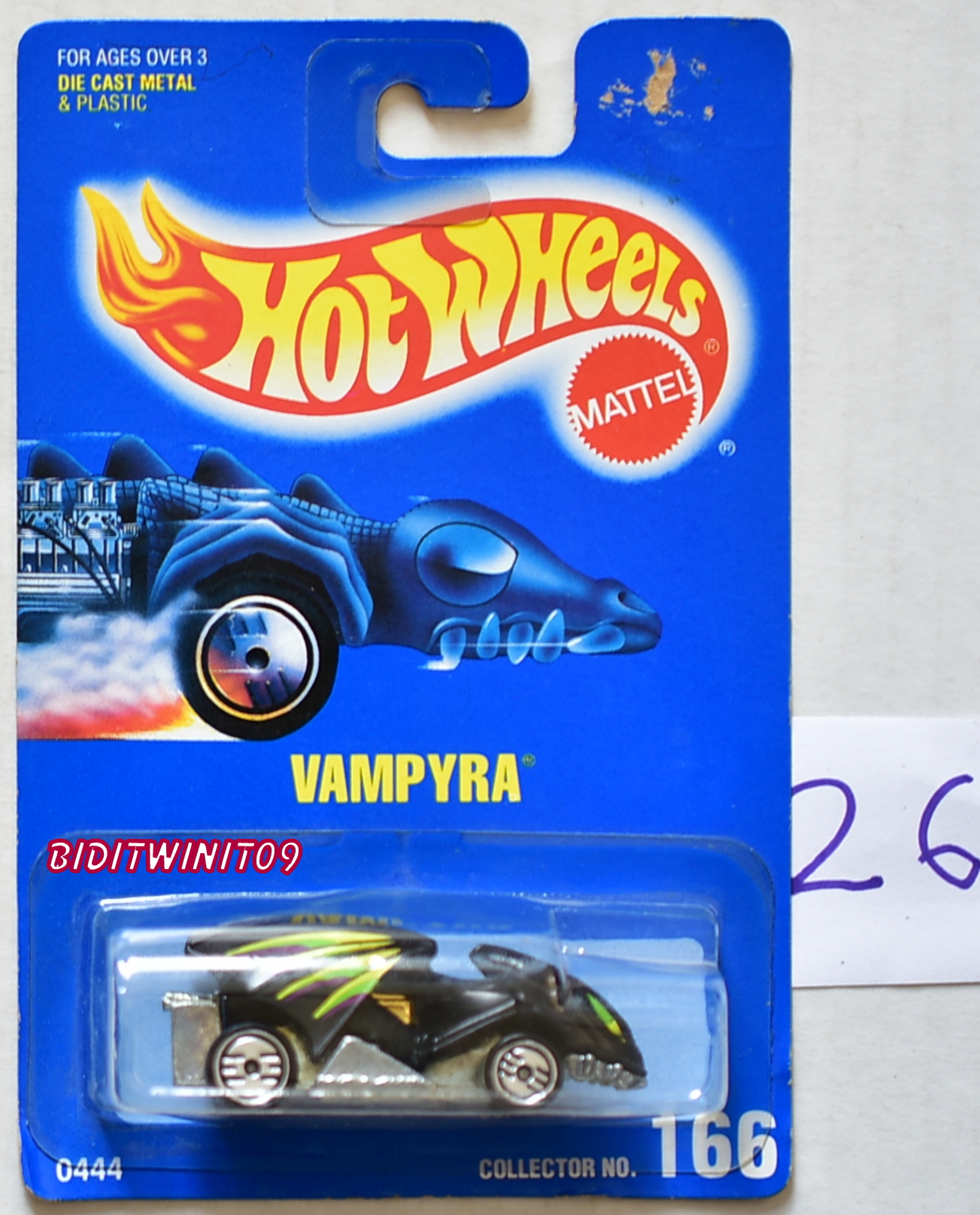 HOT WHEELS 1990 BLUE CARD COLLECT. #166 VAMPYRA W/ UH WHEELS E+