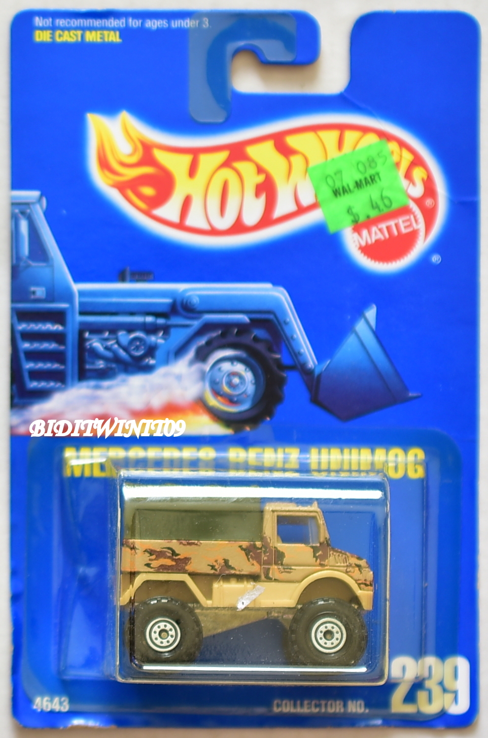 HOT WHEELS 1991 BLUE CARD MERCEDES-BENZ UNIMOG WHITE RIMS #239 04