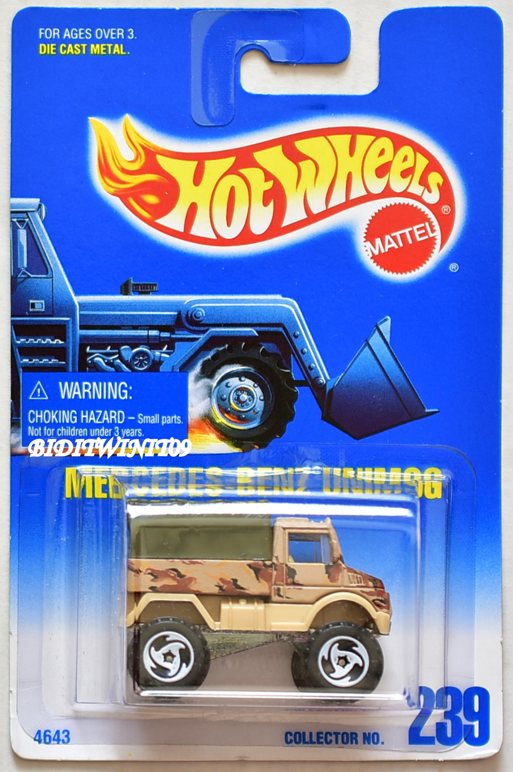 HOT WHEELS 1991 BLUE CARD MERCEDES-BENZ UNIMOG #239 W/ SAWBLADE WHEELS E+