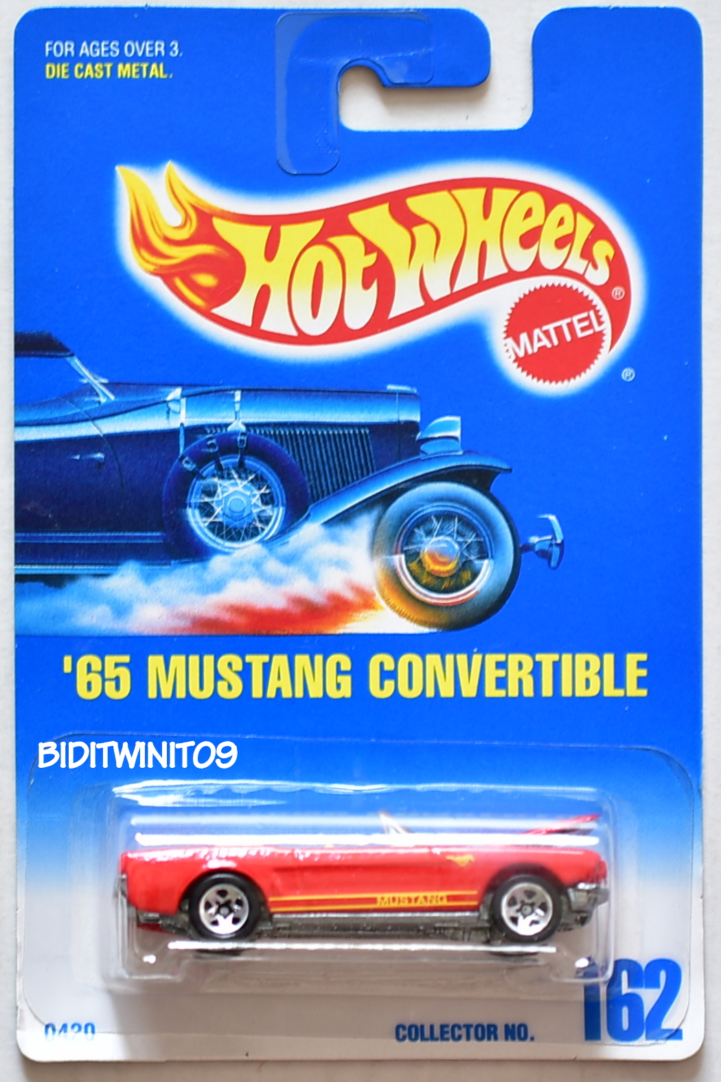 HOT WHEELS 1991 BLUE CARD '65 MUSTANG CONVERTIBLE #162 ORANGE W/ 5 SP WHEELS 15