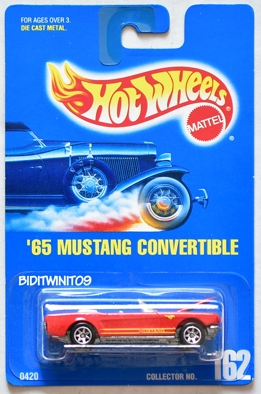 HOT WHEELS 1991 BLUE CARD '65 MUSTANG CONVERTIBLE #162 RED W/ 7 SP WHEELS