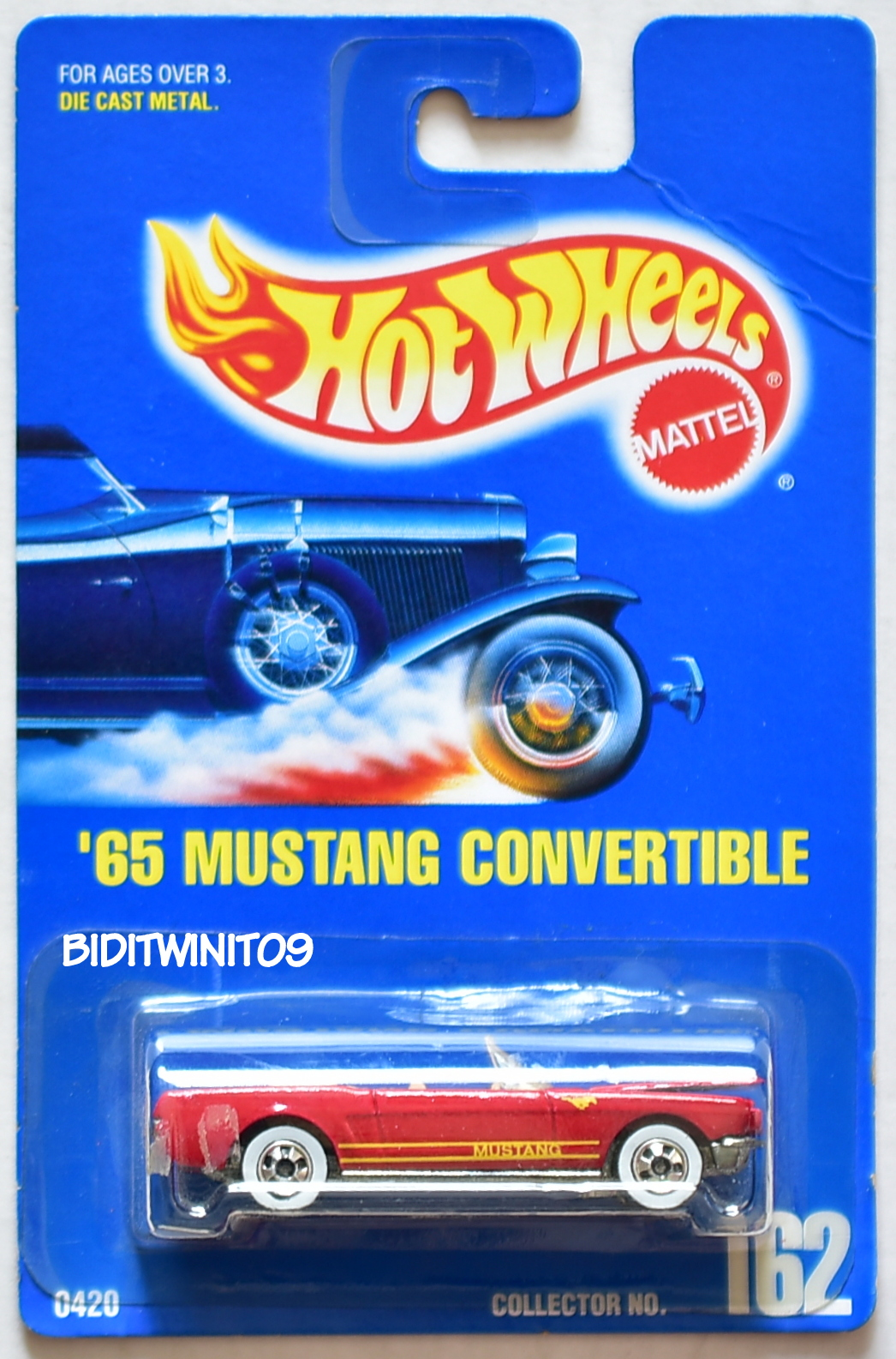 HOT WHEELS 1991 BLUE CARD '65 MUSTANG CONVERTIBLE #162 DARK RED 15