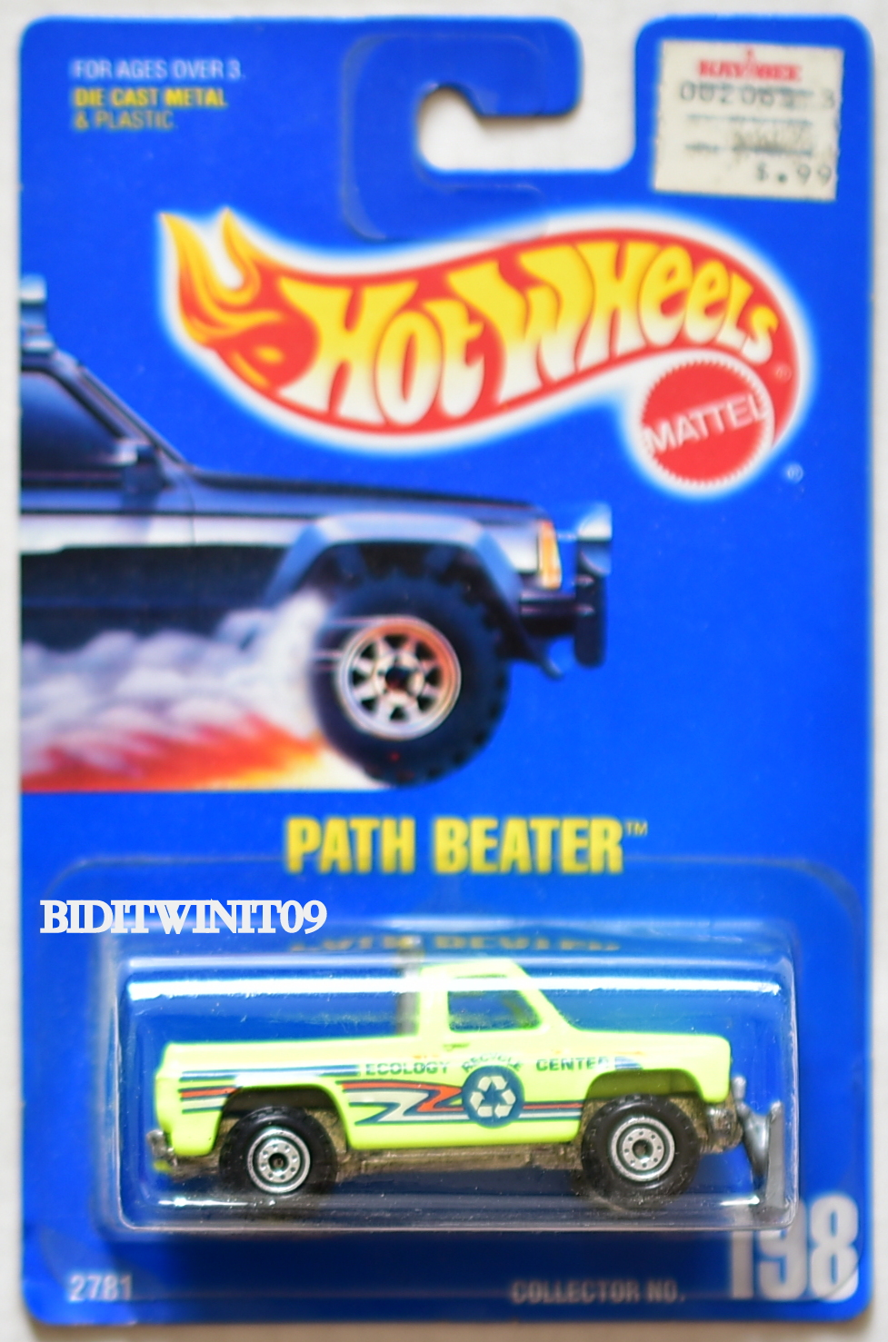 HOT WHEELS 1991 BLUE CARD PATH BEATER #198 YELLOW 13