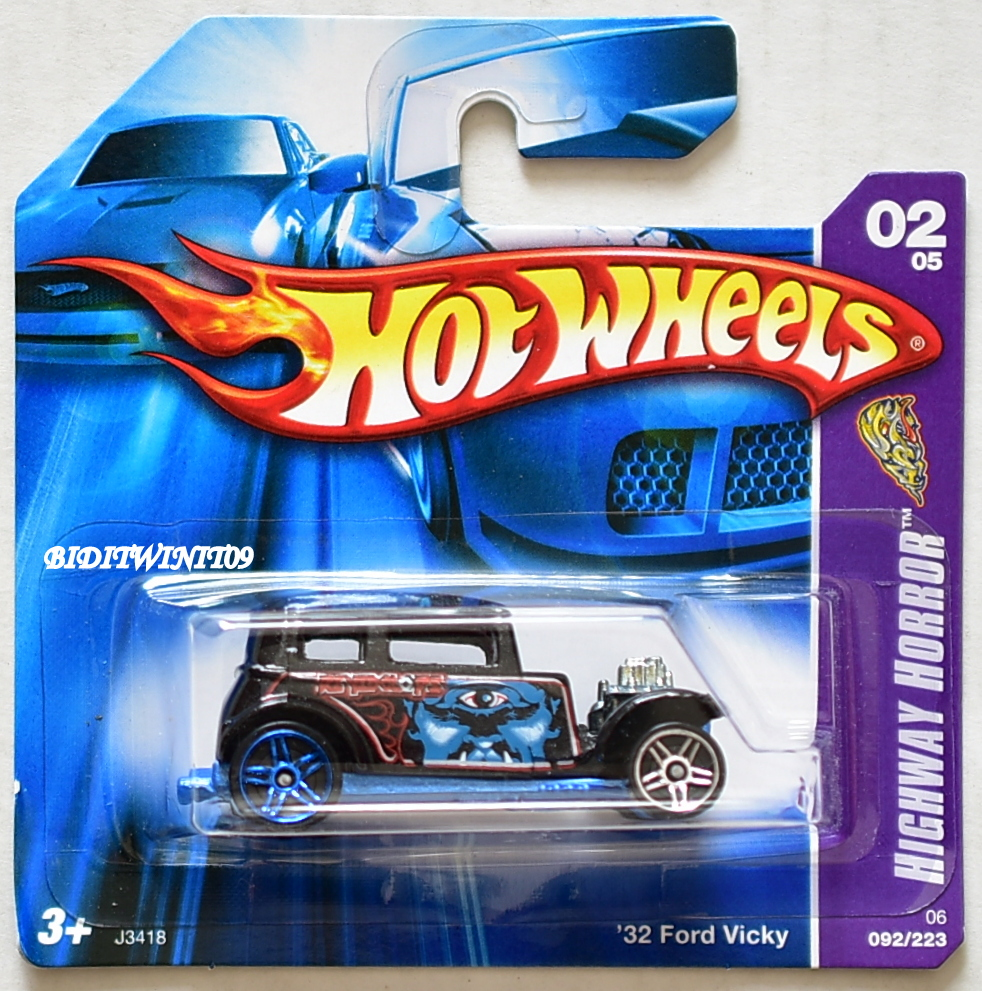HOT WHEELS 2006 HIGHWAY HORROR '32 FORD VICKY #02/05 BLACK SHORT CARD E+