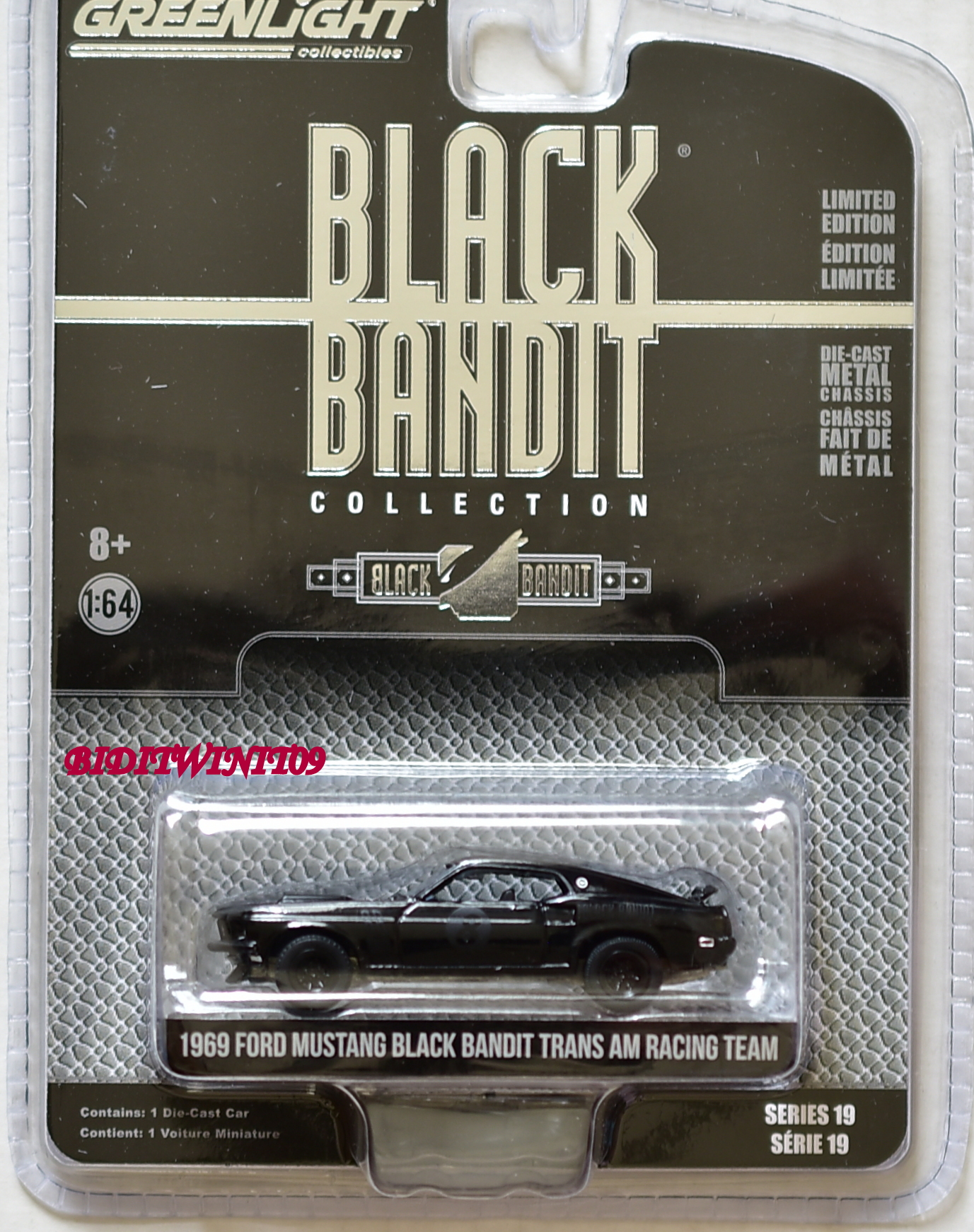 GREENLIGHT 2018 SERIES 19 1969 FORD MUSTANG BLACK BANDIT TRANS AM RACING TEAM