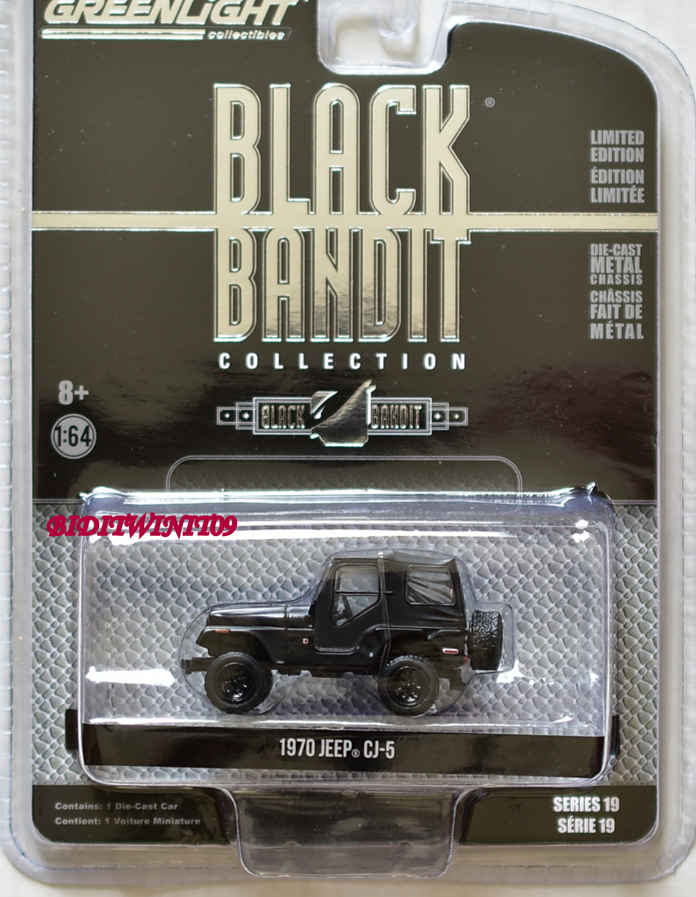 GREENLIGHT 2018 BLACK BANDIT SERIES 19 1970 JEEP CJ-5