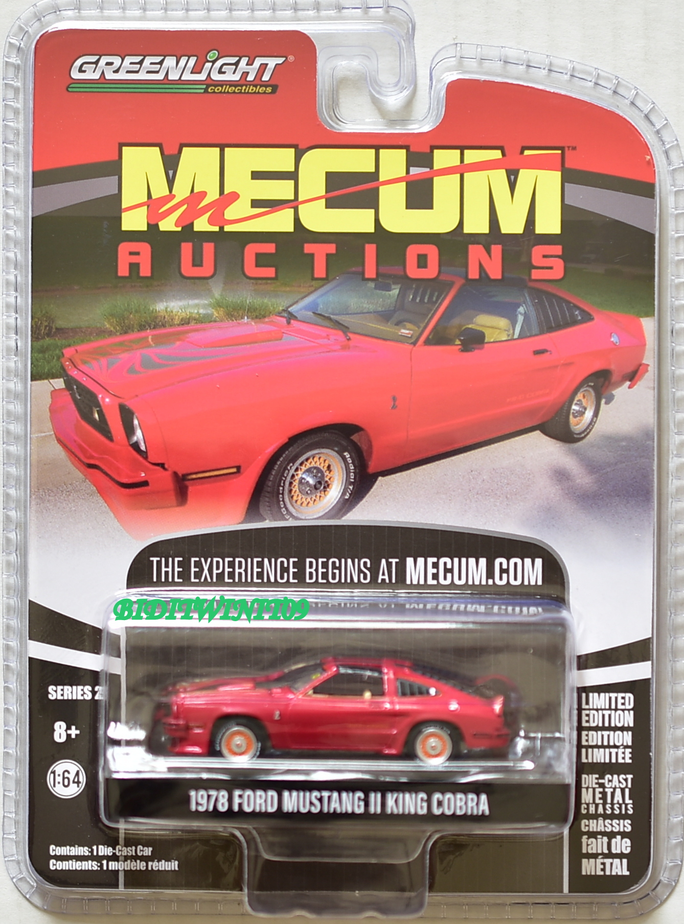 GREENLIGHT MECUM AUCTIONS SERIES 2 1978 FORD MUSTANG II KING COBRA RED