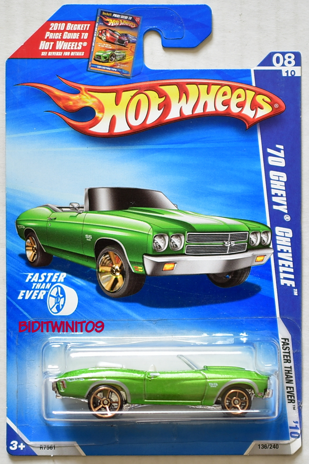 HOT WHEELS 2010 '70 CHEVY CHEVELLE FASTER T EVER 8/10 GREEN