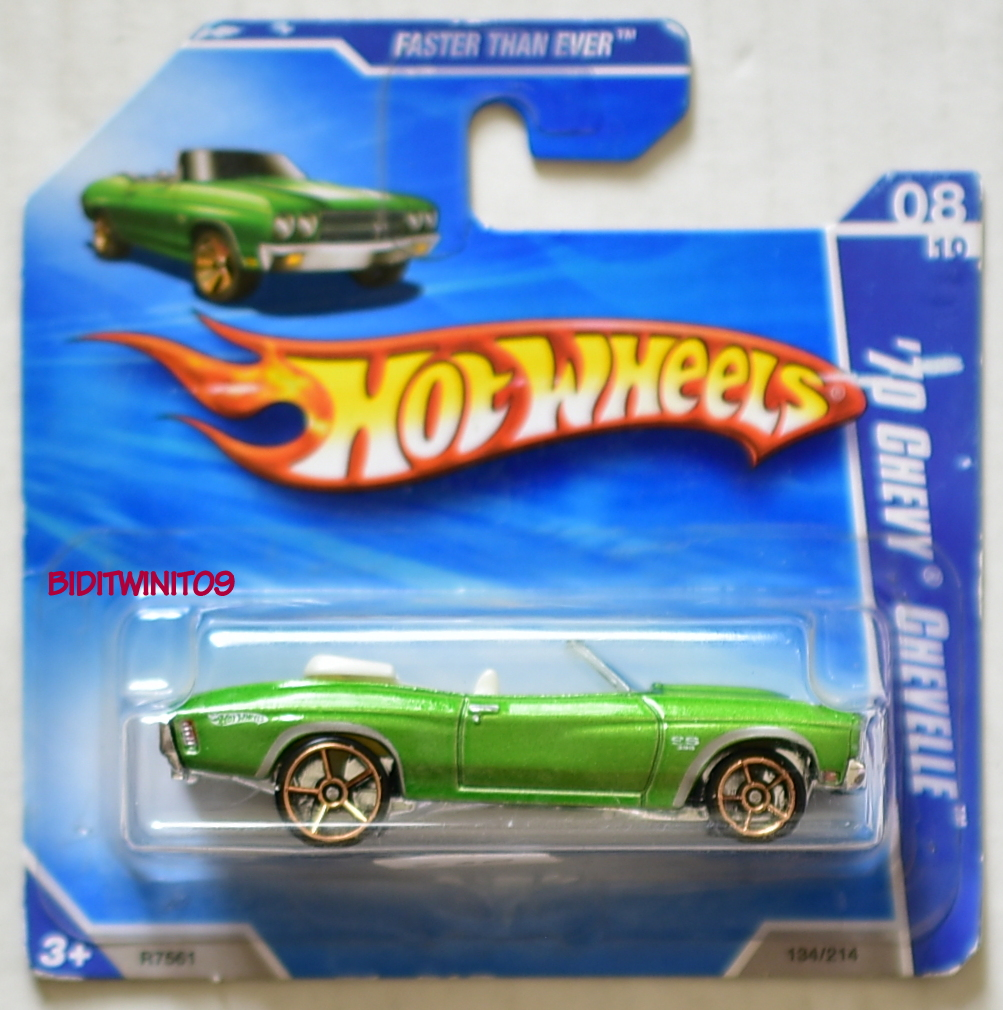 HOT WHEELS 2010 '70 CHEVY CHEVELLE FASTER THAN EVER #8/10 GREEN SHORT CARD E+