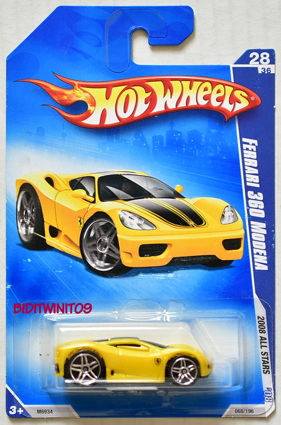 HOT WHEELS 2008 ALL STARS FERRARI 360 MODENA YELLOW