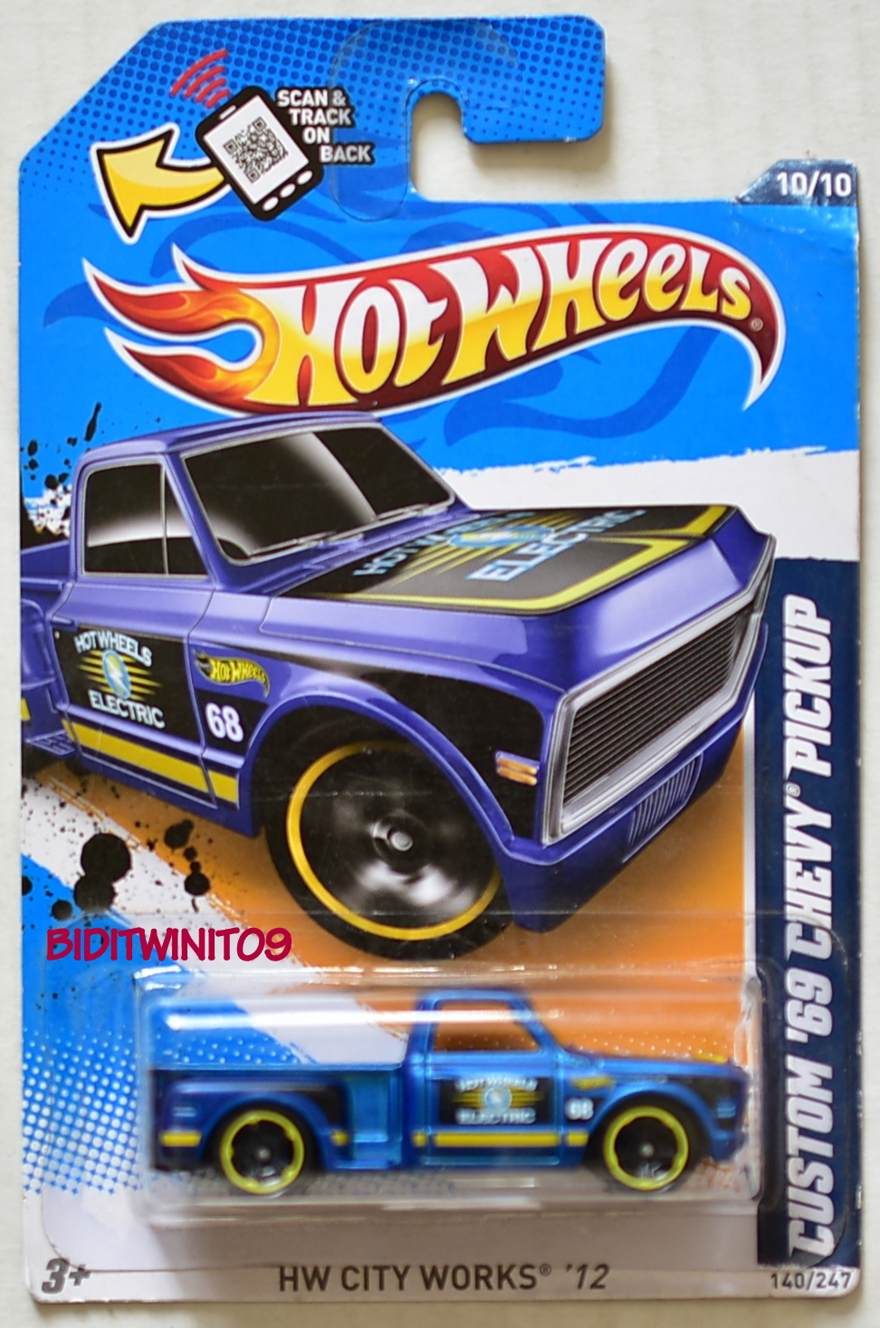 HOT WHEELS 2012 HW CITY WORKS CUSTOM '69 CHEVY PICKUP BLUE E+