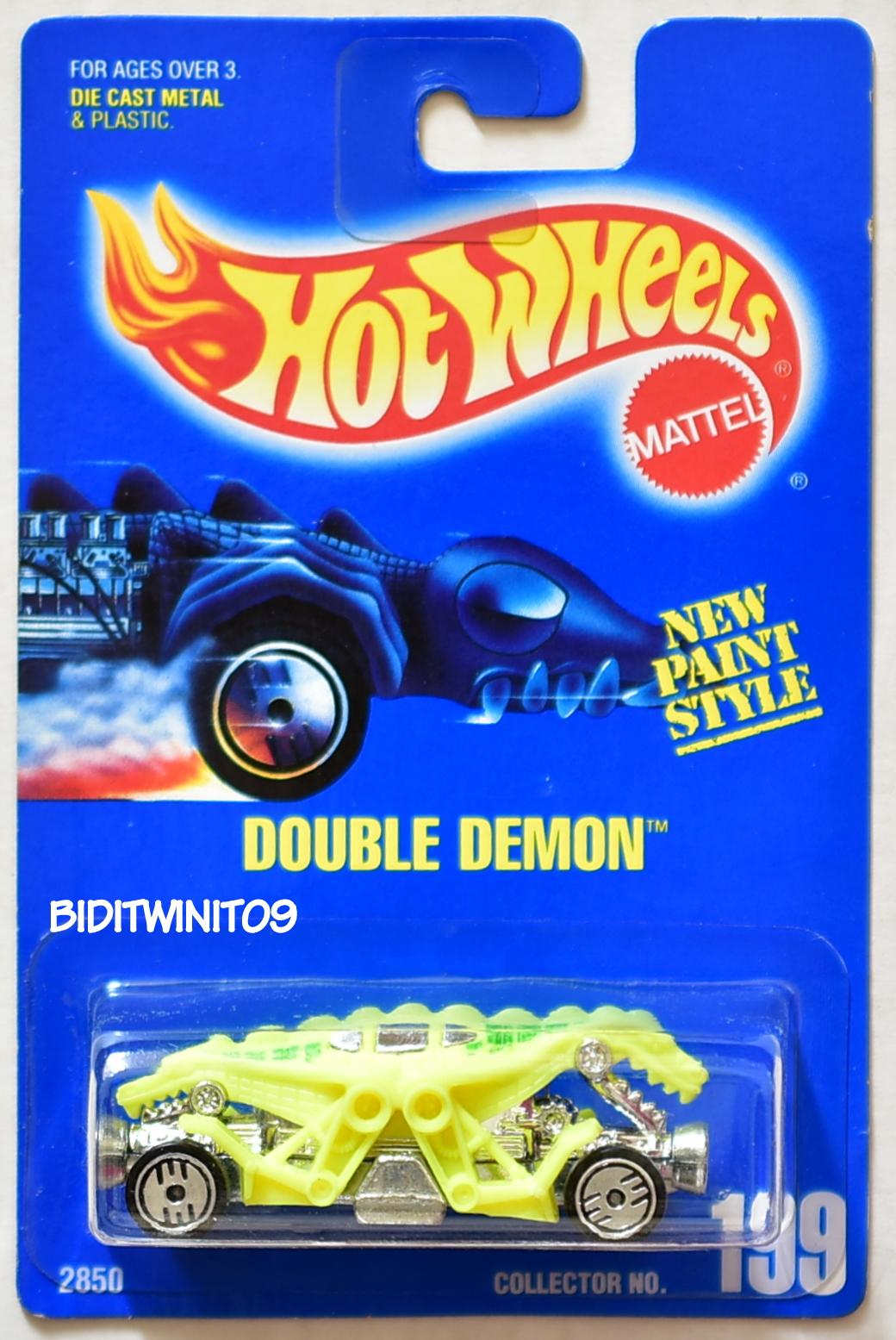 HOT WHEELS 1991 BLUE CARD #199 DOUBLE DEMON 13 E+