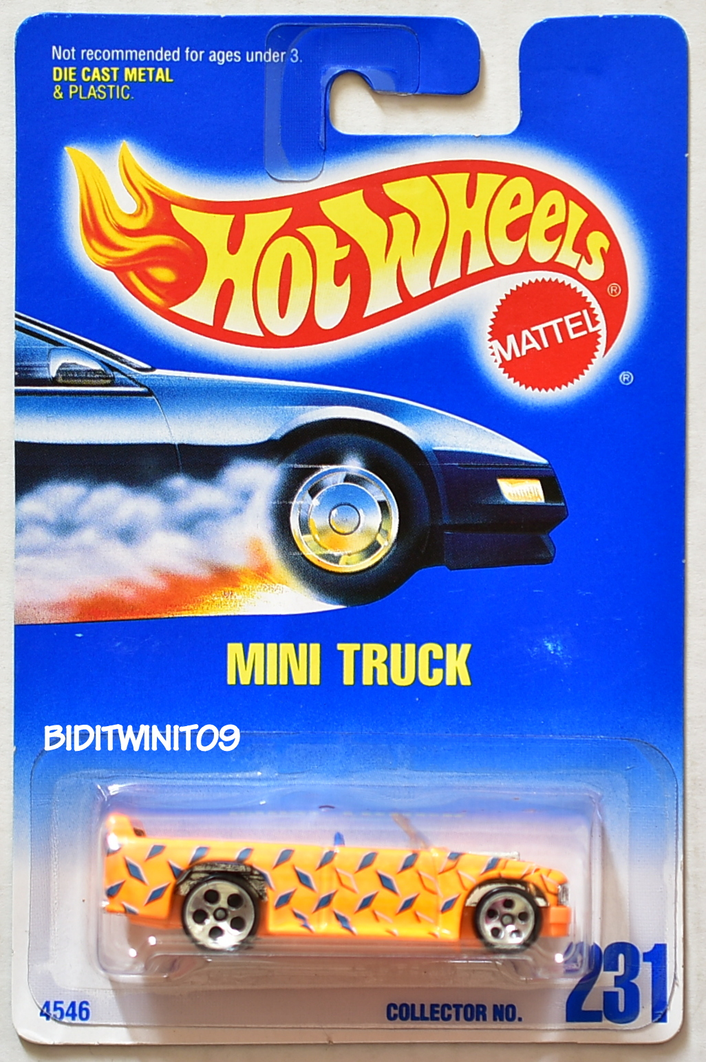 HOT WHEELS 1991 BLUE CARD #231 MINI TRUCK YELLOW W/ 5 HOLE WHEELS 13 E+