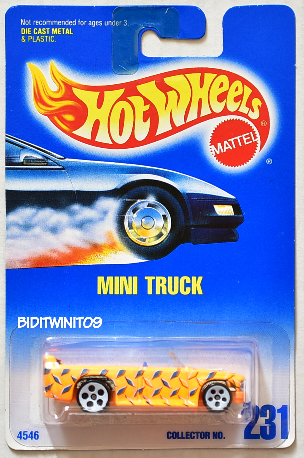 HOT WHEELS 1991 BLUE CARD #231 MINI TRUCK W/ 5 HOLE WHITE WHEELS 13 E+
