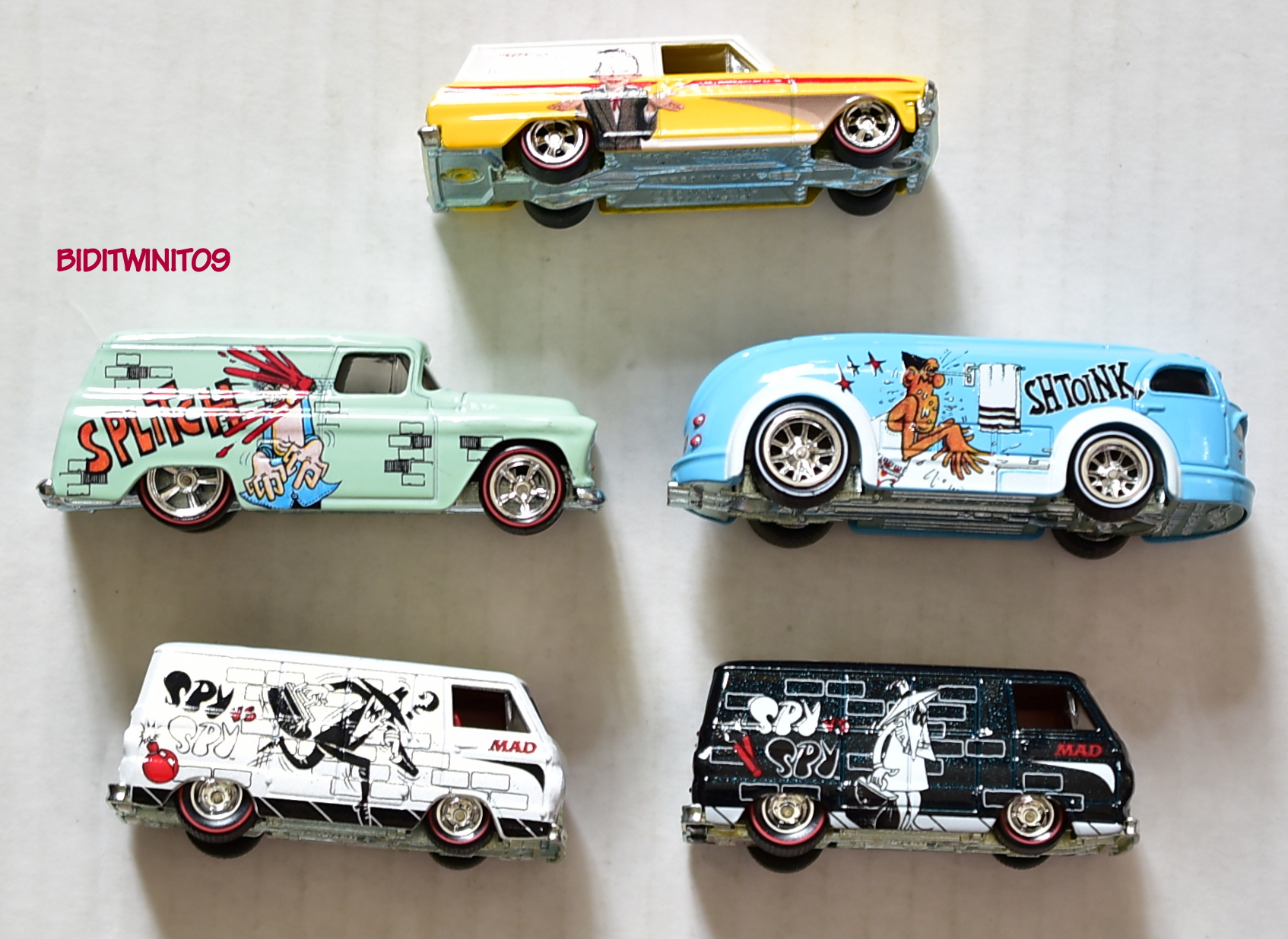 HOT WHEELS POP CULTURE MAD MAGAZINE SET OF 5 SPY DODGE CHEVY LOOSE