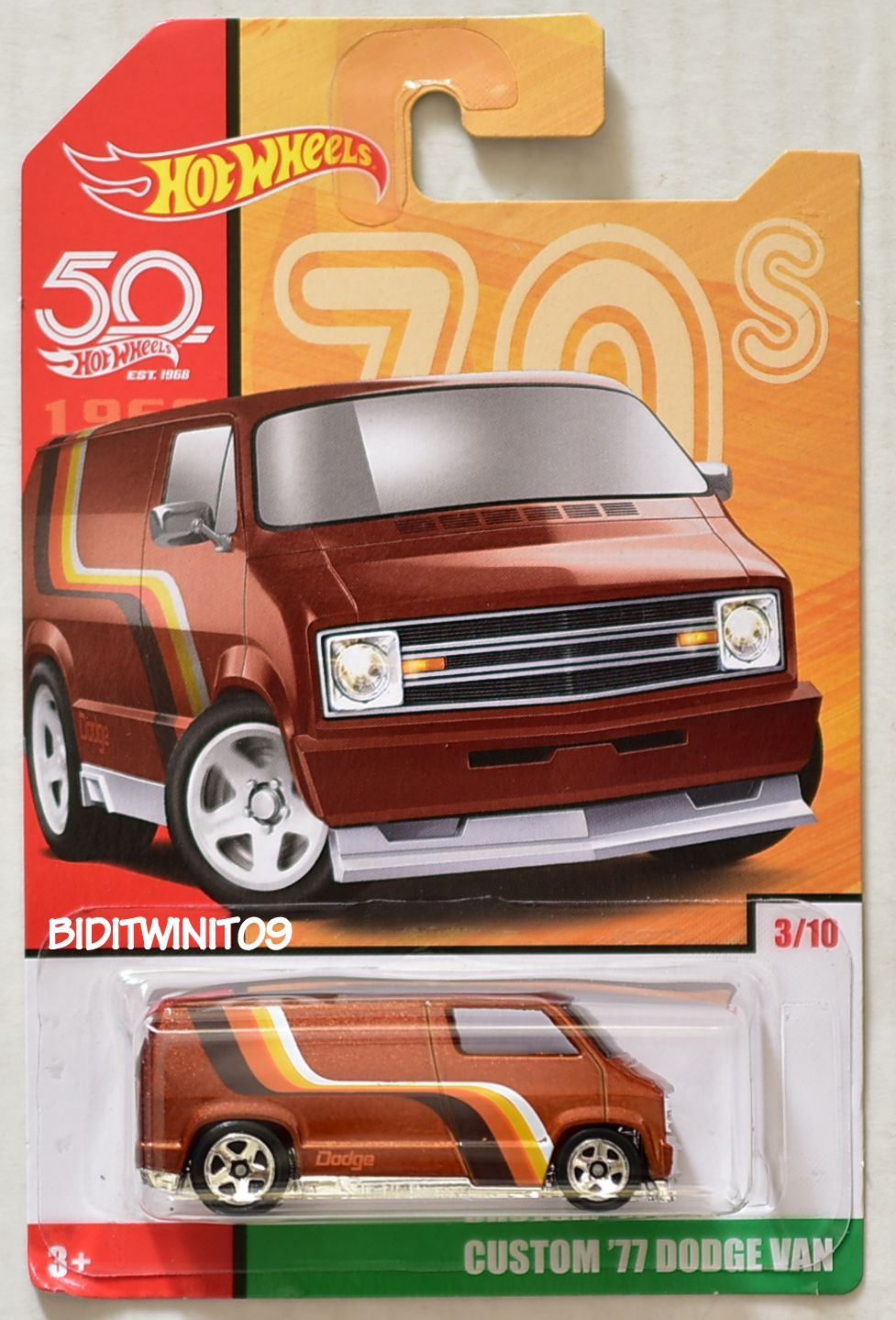 HOT WHEELS 2018 THROWBACK DECADES 50TH ANNIVERSARY CUSTOM '77 DODGE VAN