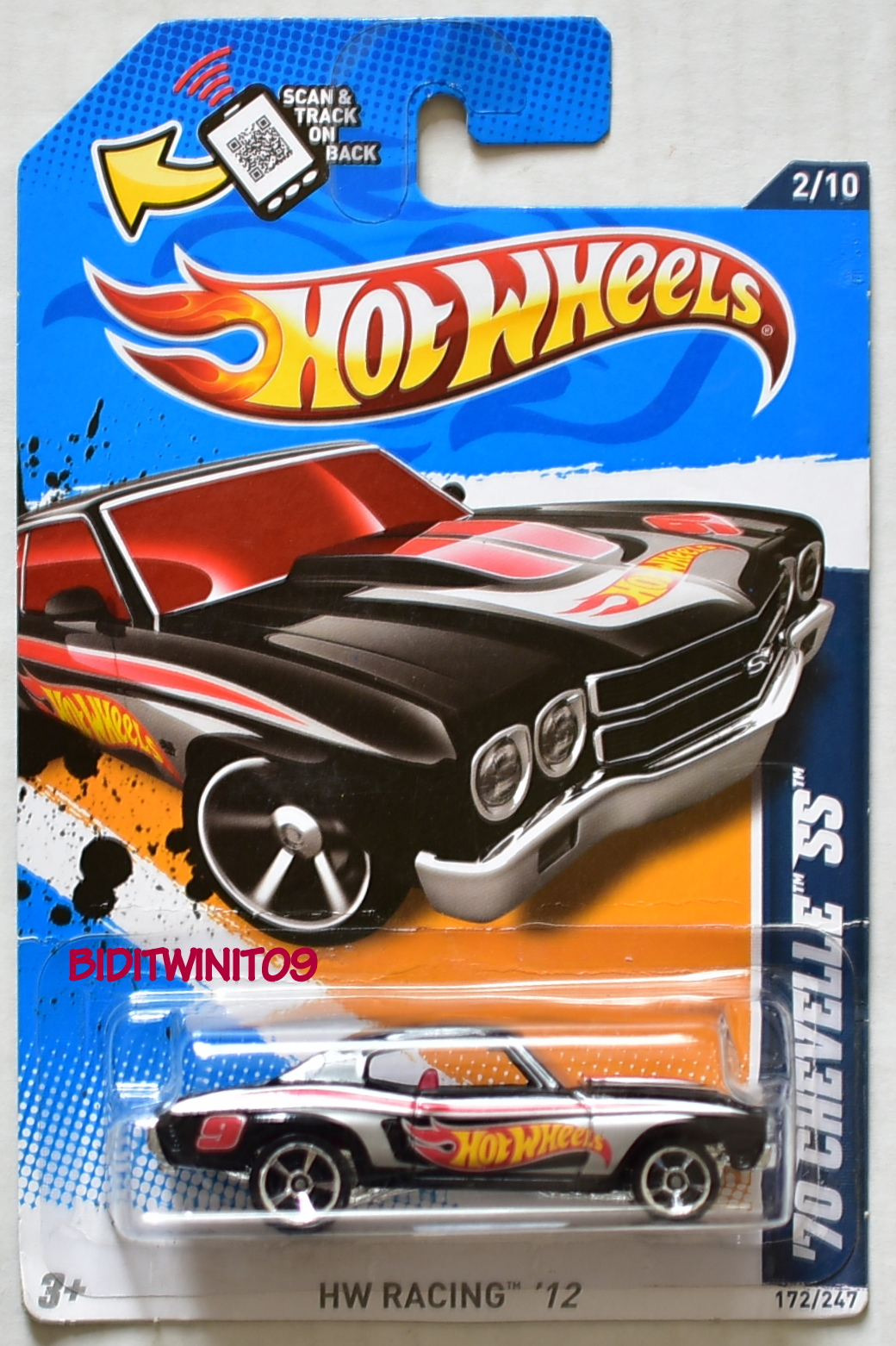 HOT WHEELS 2012 HW RACING '70 CHEVELLE SS BLACK